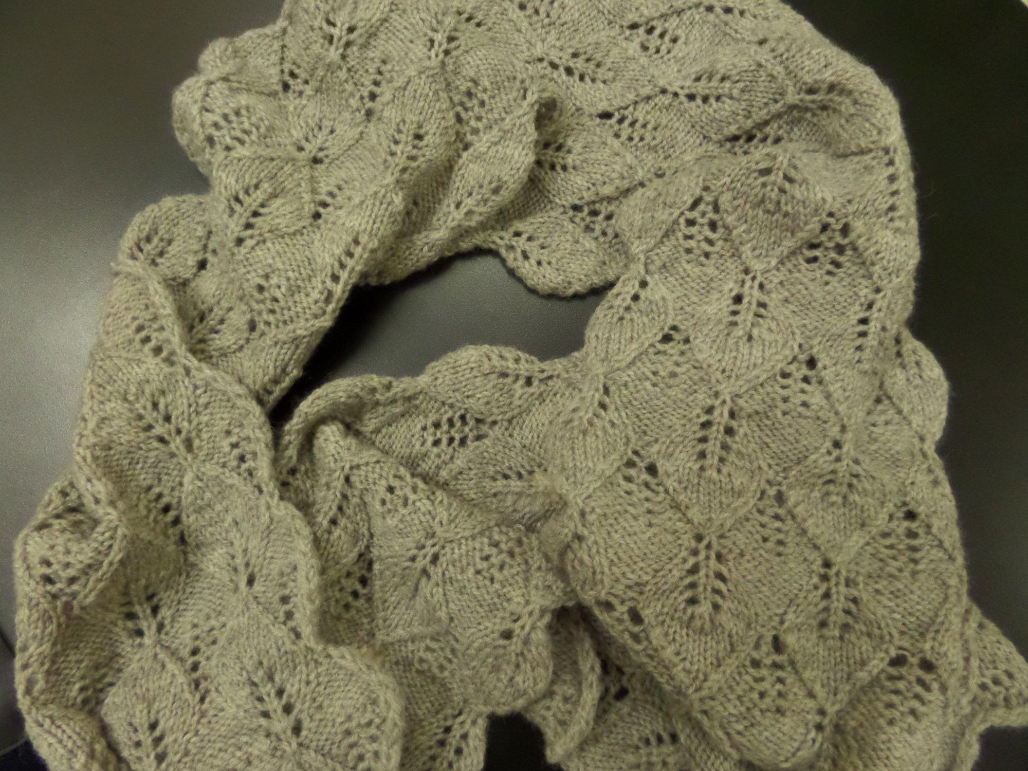 Mohawk Wool Leaf scarf model from Classic Elite