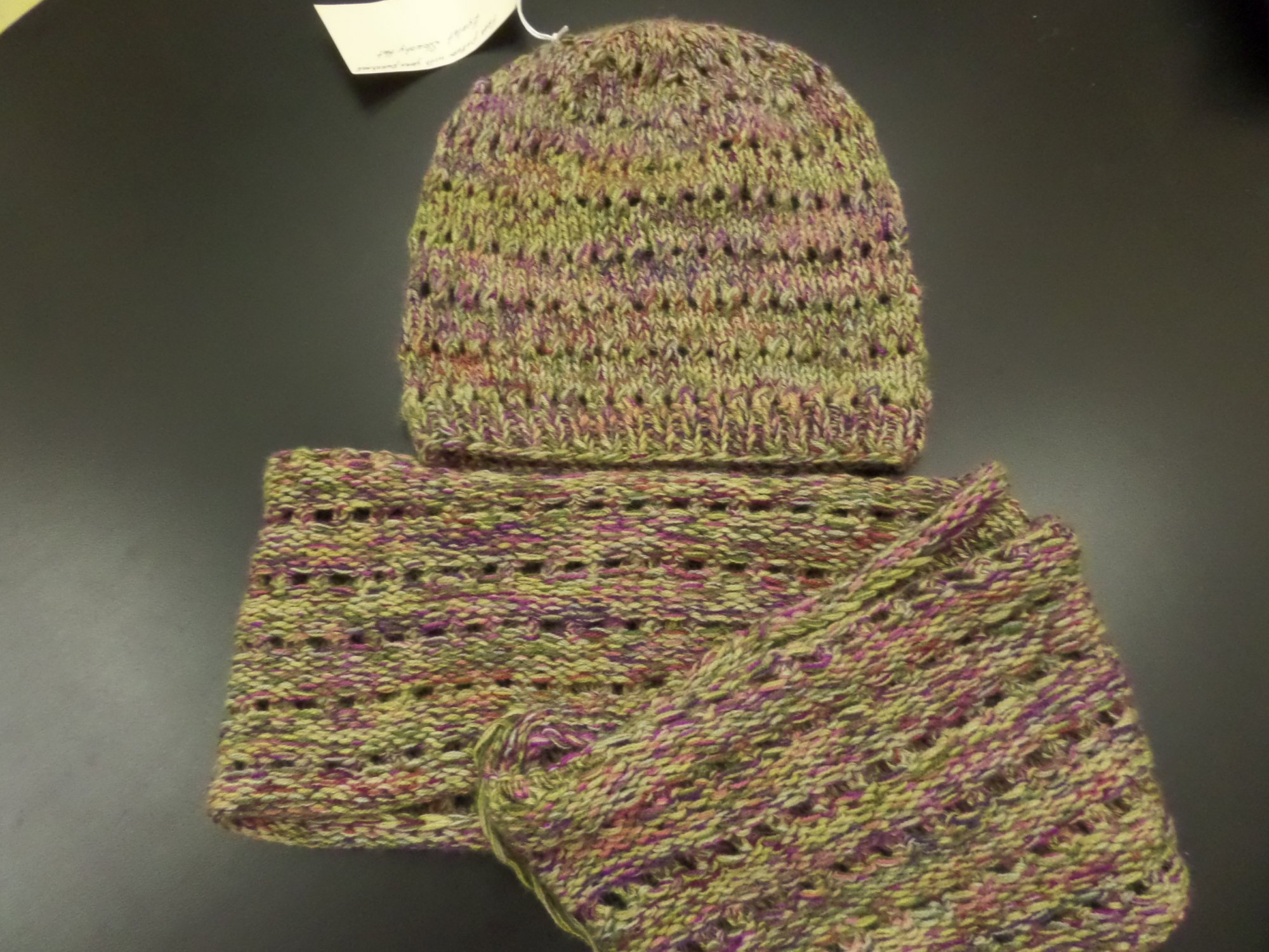 Eyelet Chunky Cowl and Sloucy Hat model set in Silky Alpaca Lace