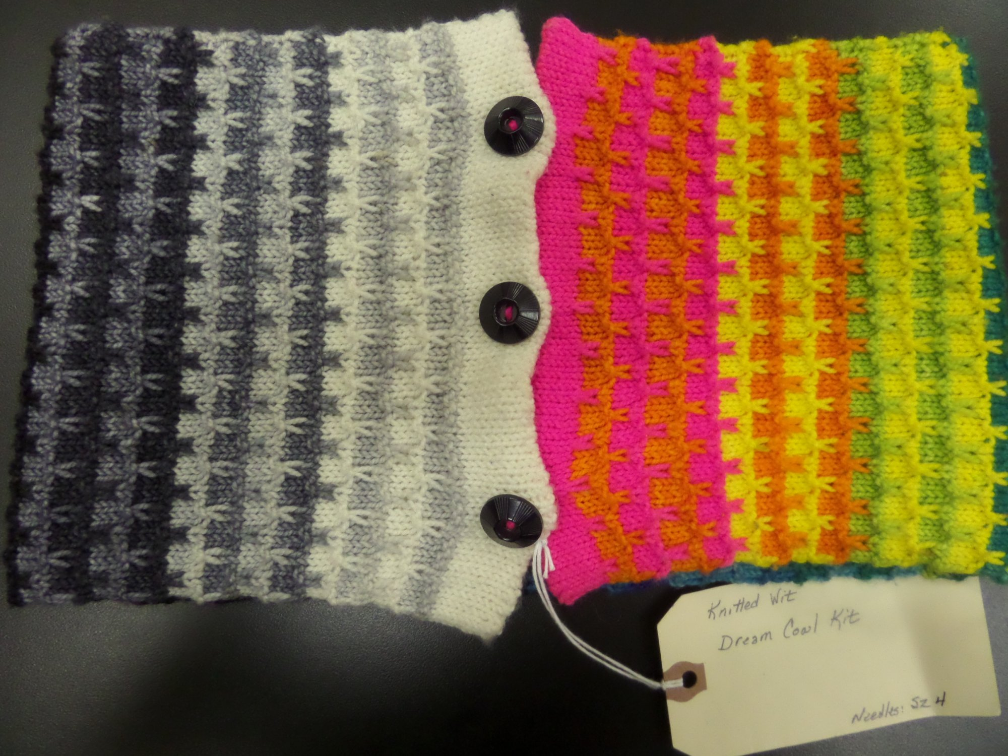 Amazing Technicolor Dream Cowl sample from Knitted Wit