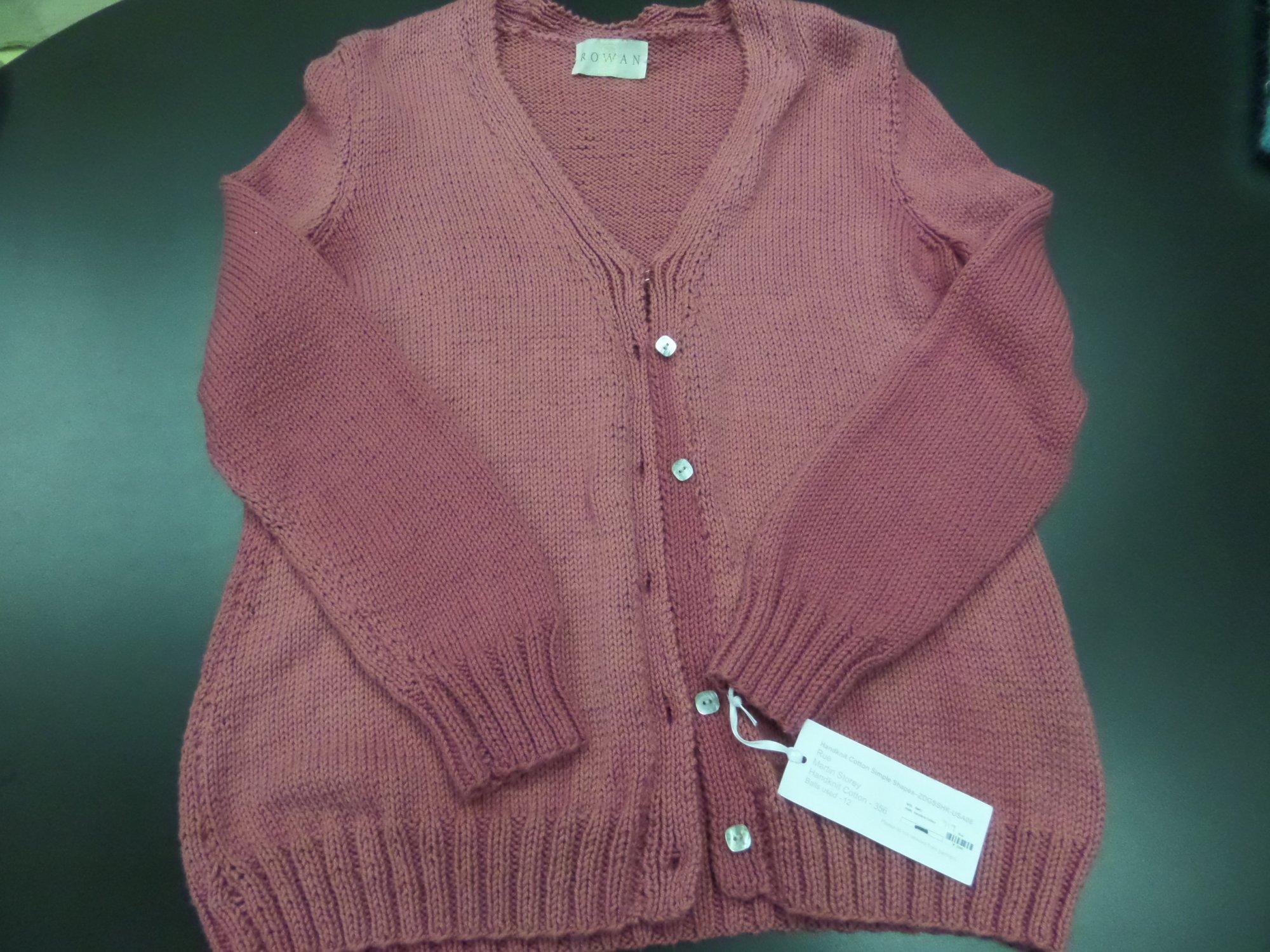 Rue sweater model in Handknit Cotton by Rowan