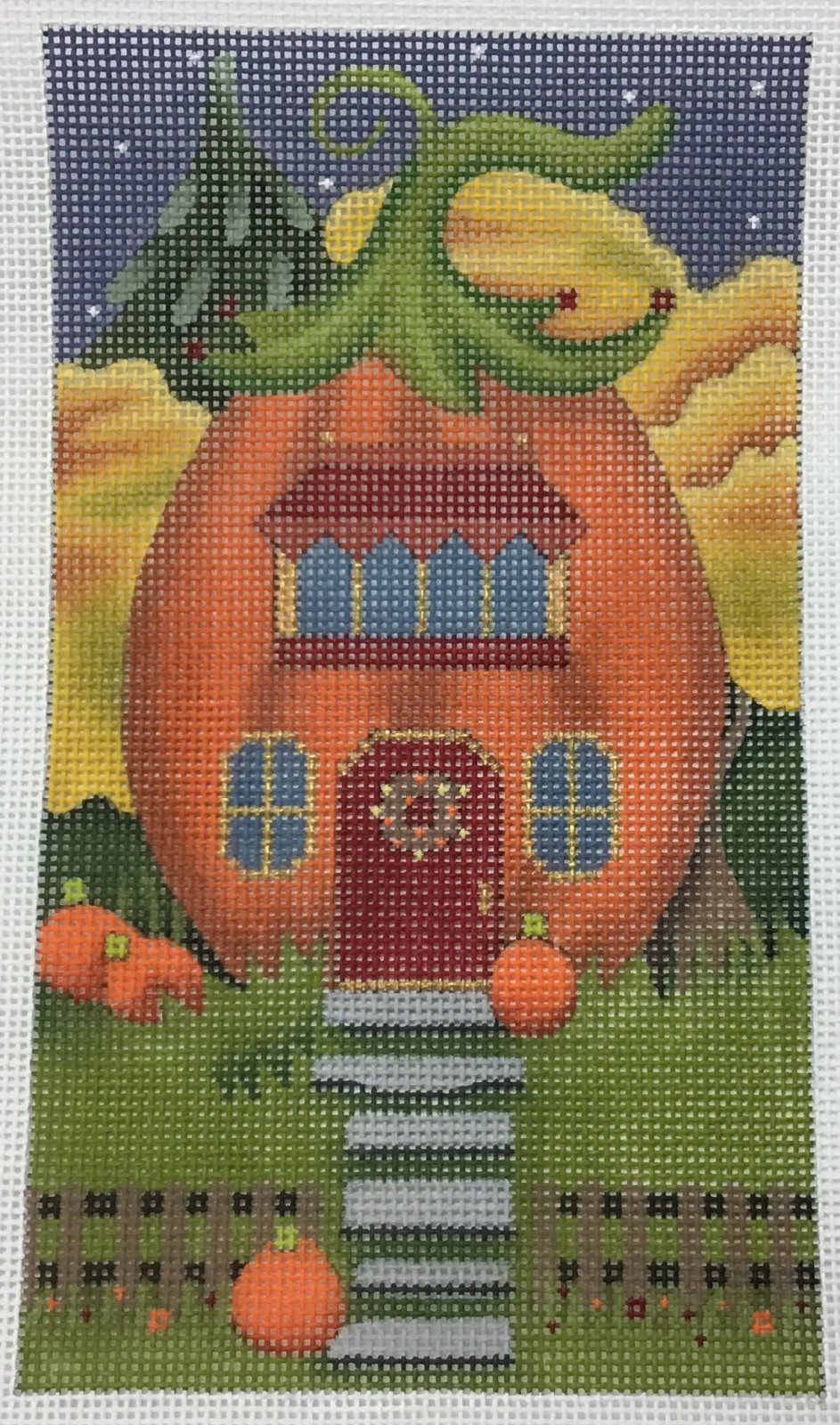 Pumpkin House Red Door,18 ct., 4'x7