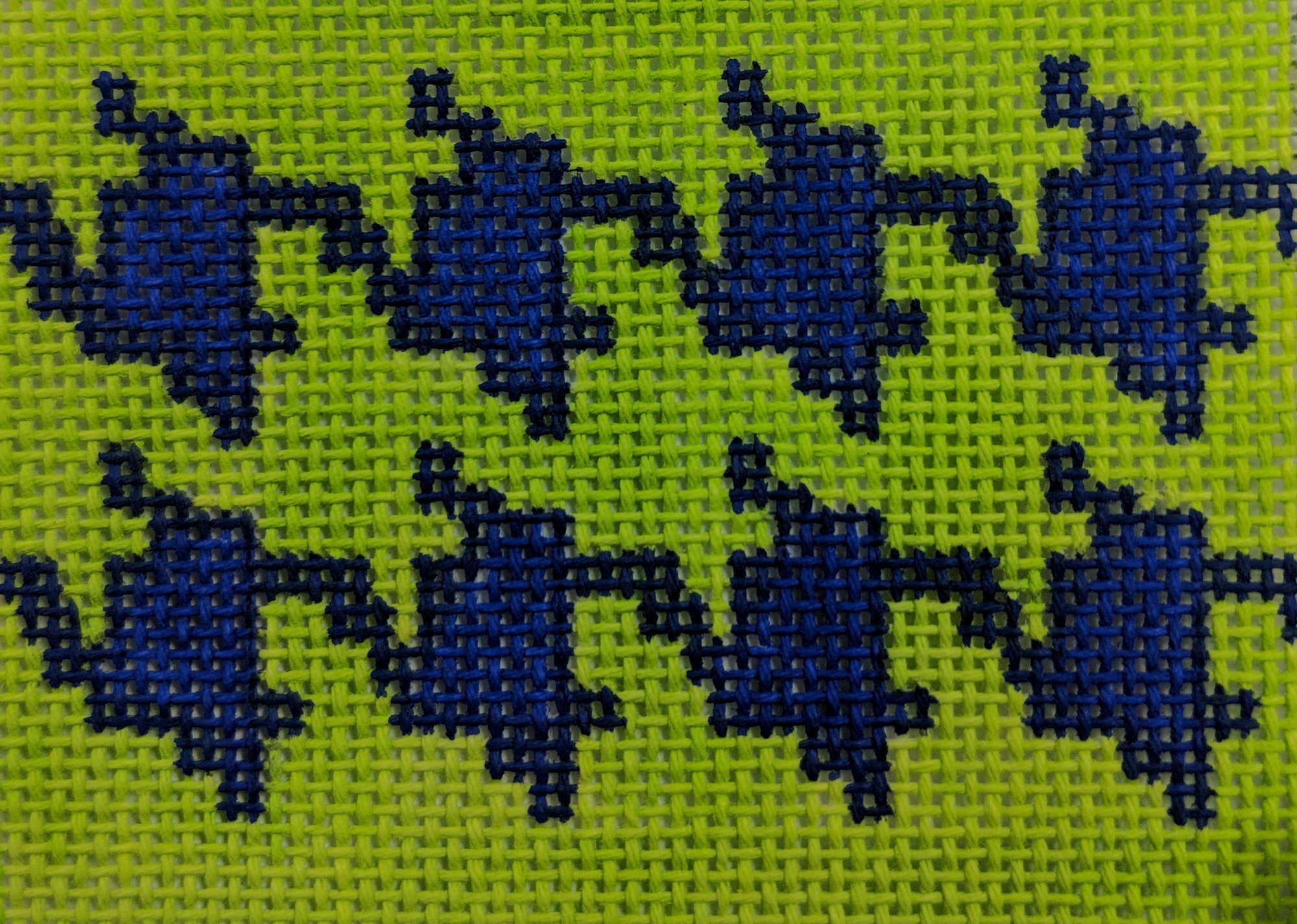Periwinkle on Lime Houndstooth, Fits Self Finishing CCC, 18 ct., 2.5 x 3.25