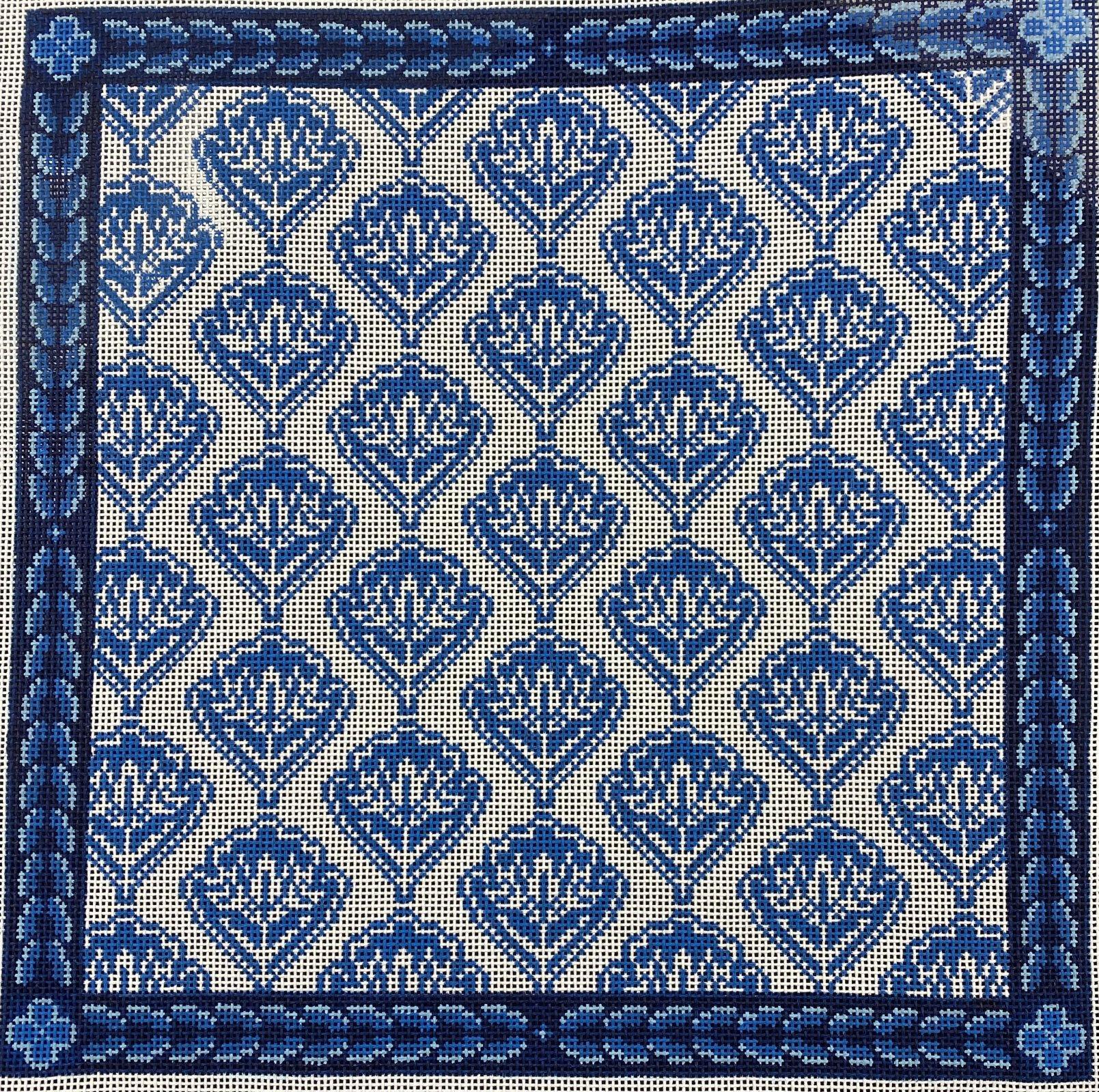 Blue Medallion Floral,13 ct.,16.5x17