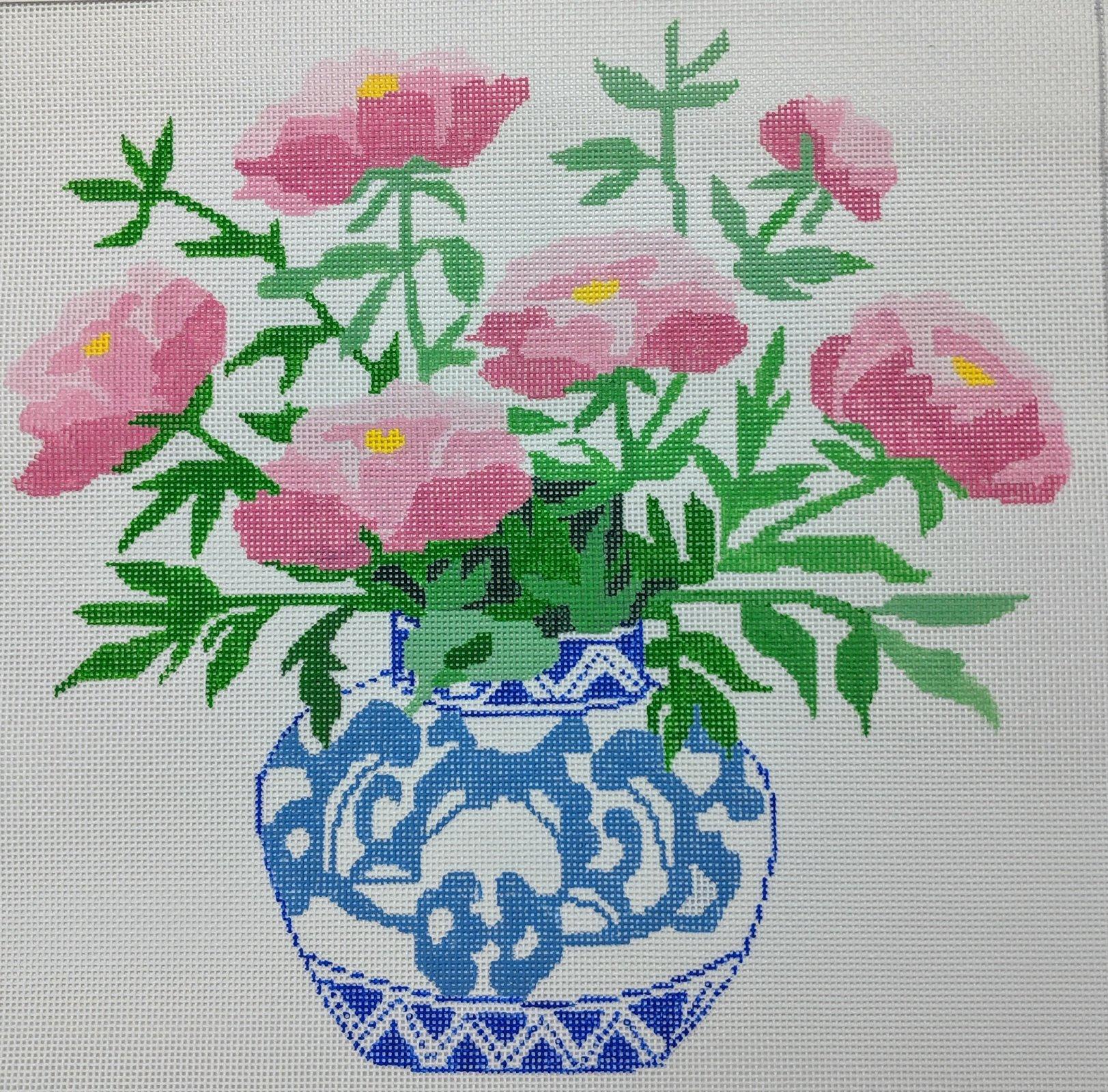 Peonies in Blue Bowl, 13M, 14x14