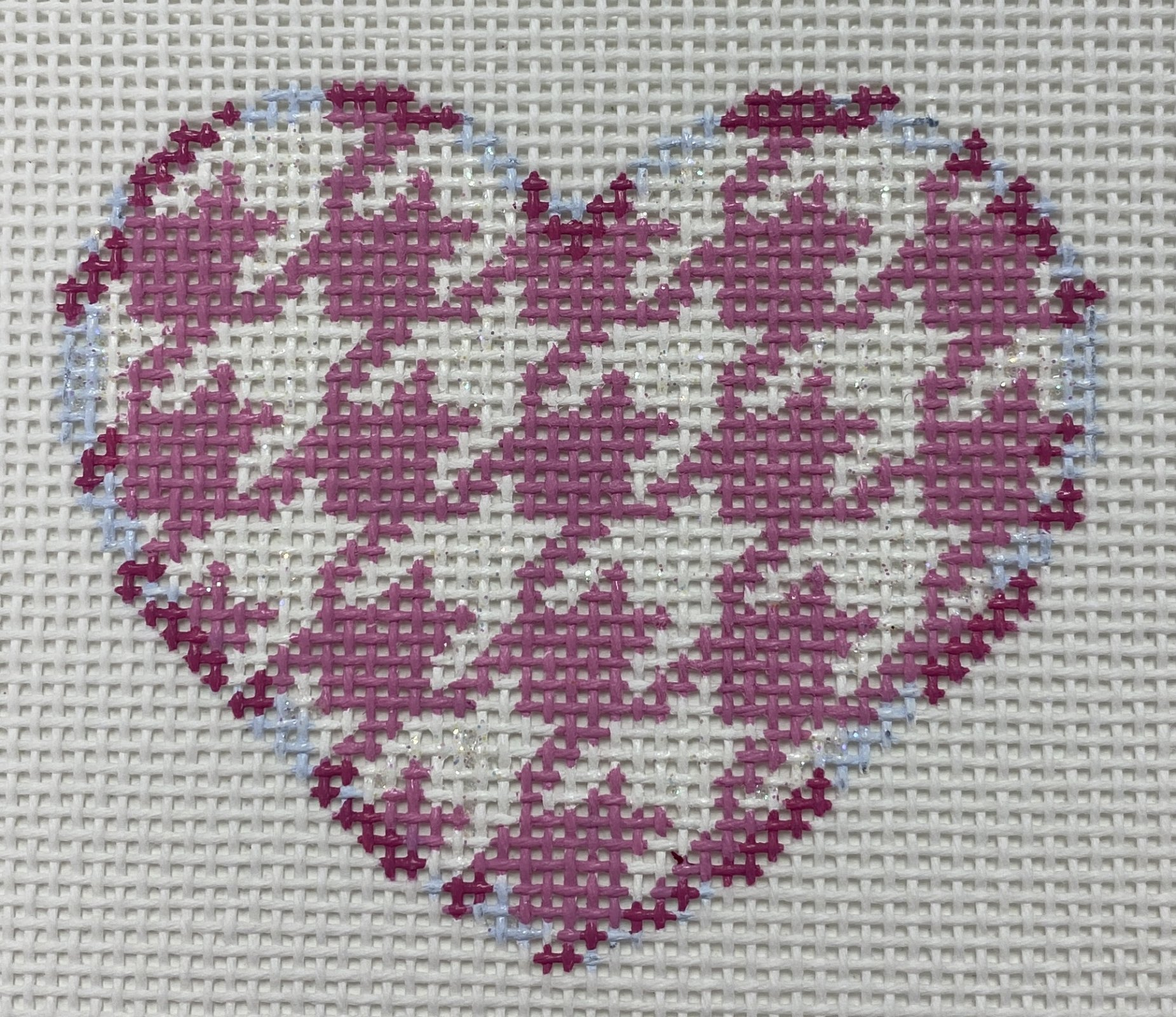 Pink Houndstooth Heart,18 ct.,2.25x2.5