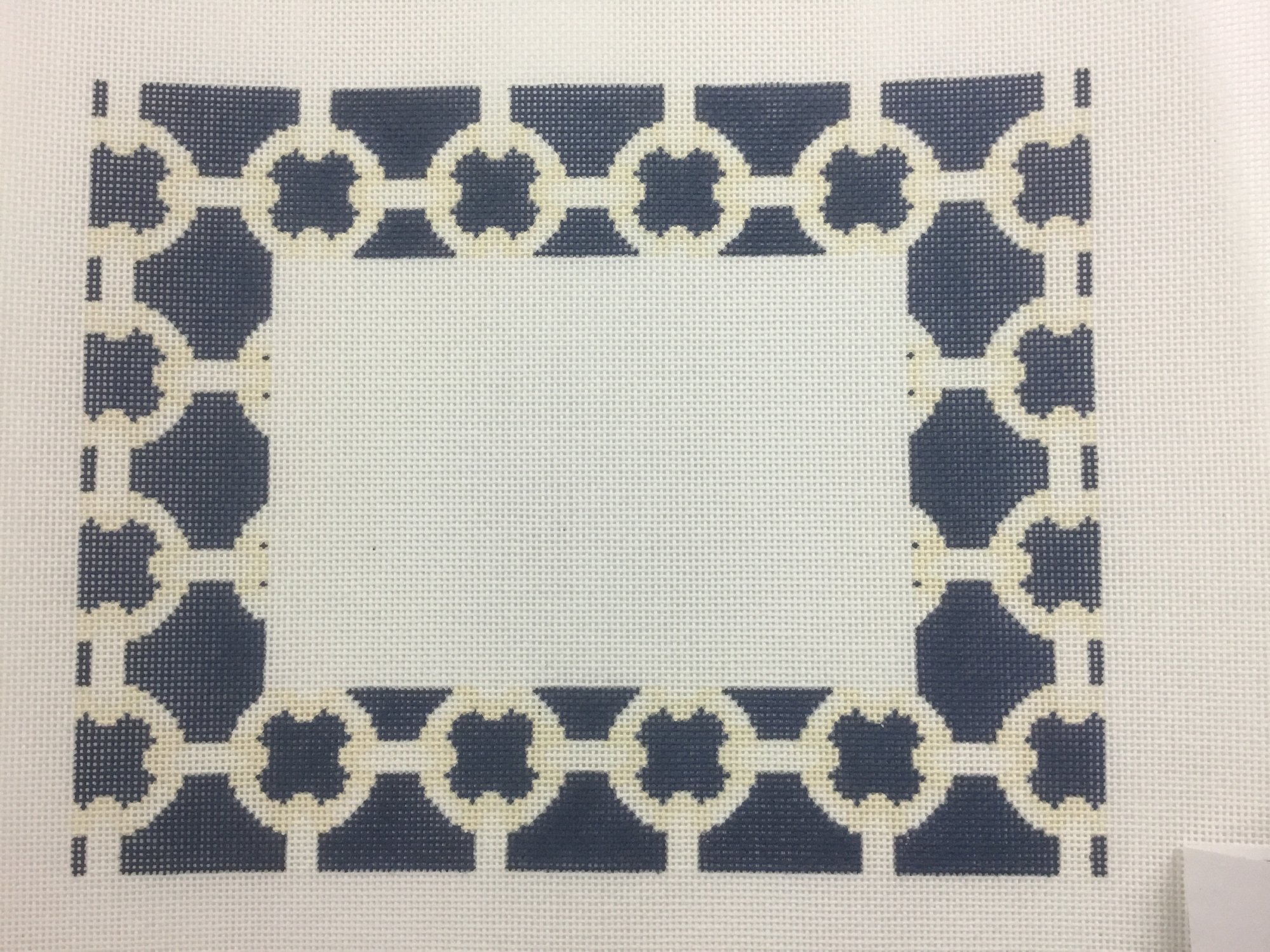 Blue/Cream Fretwork Picture Frame,18 ct.,7x9