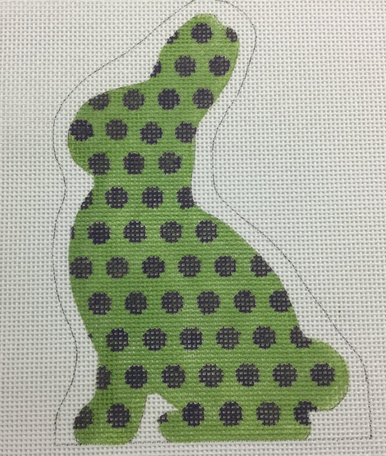 Bunny ,green with purple polka dots,13 ct.,5x8