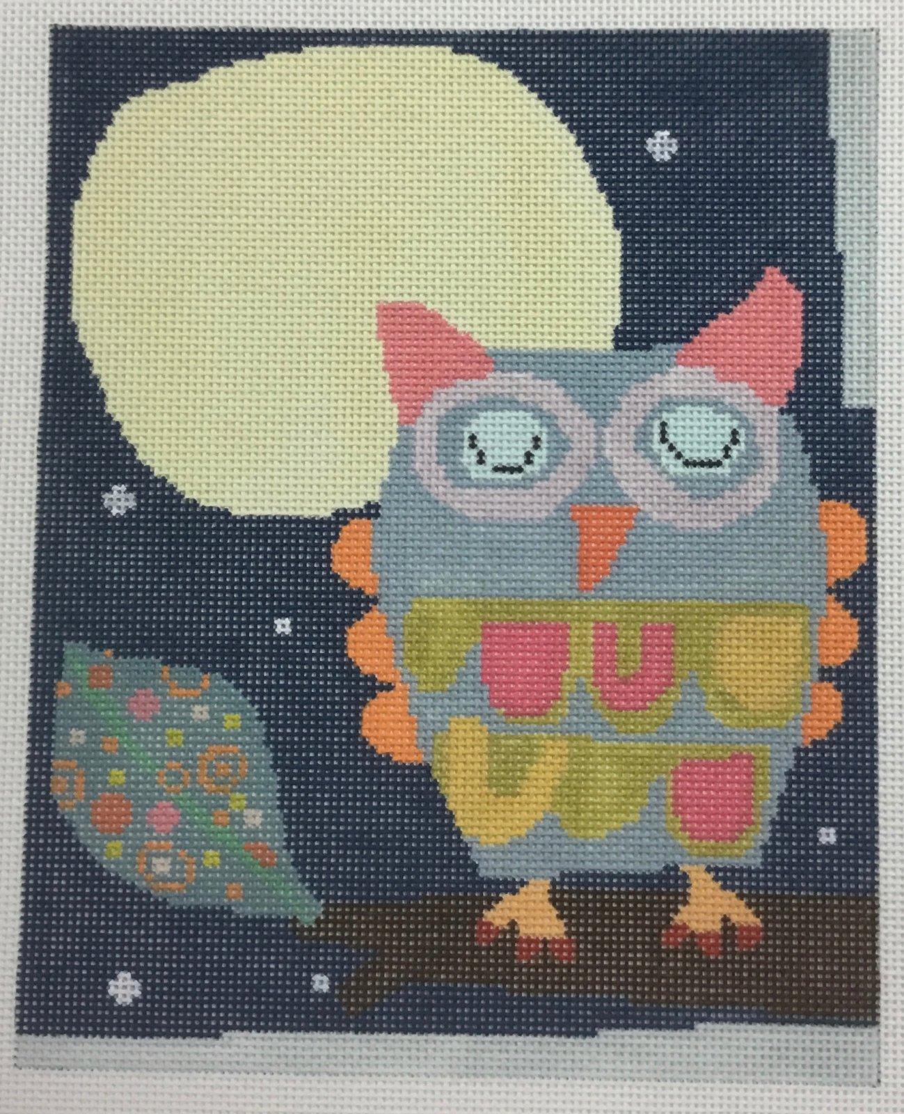 Owl in Moonlight, 13 ct., 8 x 9.5