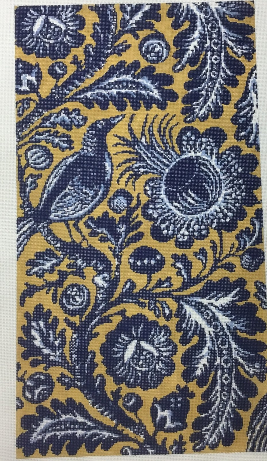 Blue and Gold Floral with Bird,18 ct.,10x18