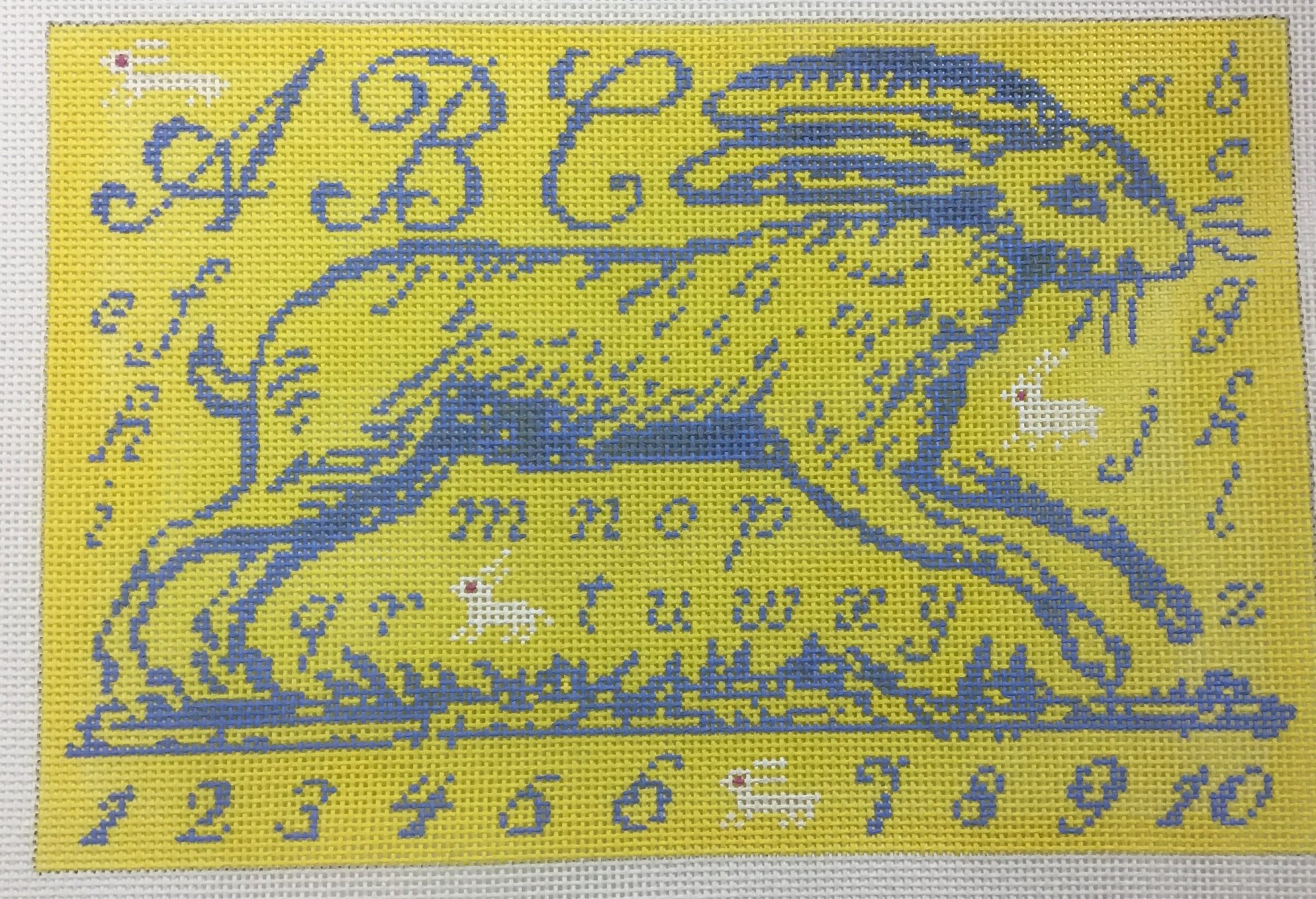 Blue Rabbit on Yellow,13 ct.,7 1/2x11