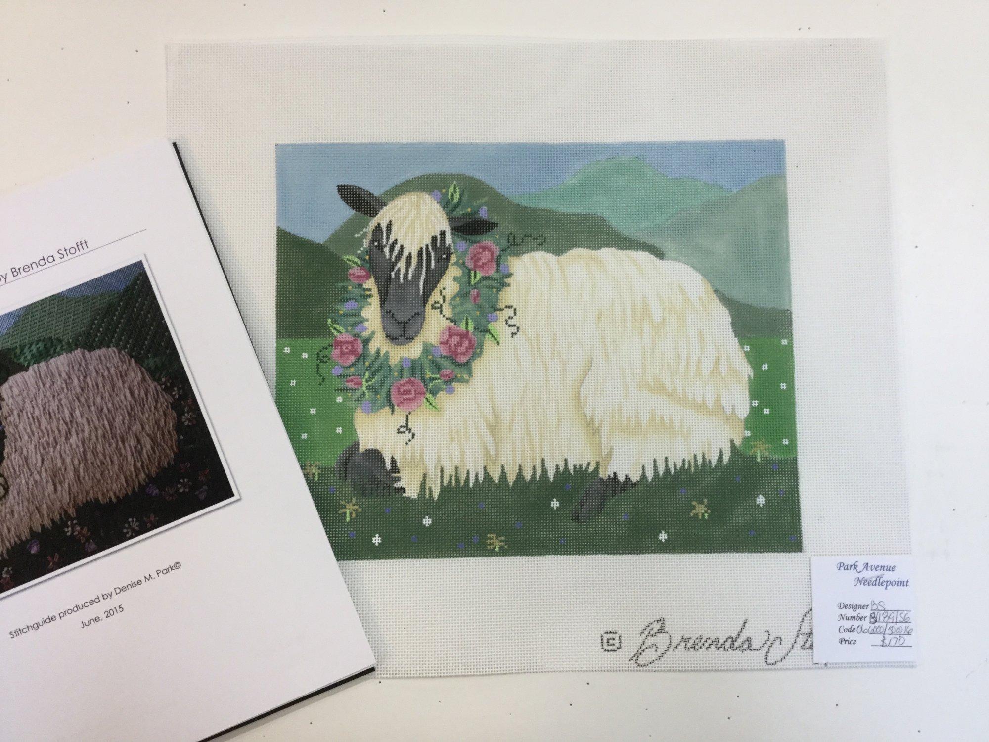 Sheep w/ Wreath & Stitch Guide, 18 ct , 8 x 10