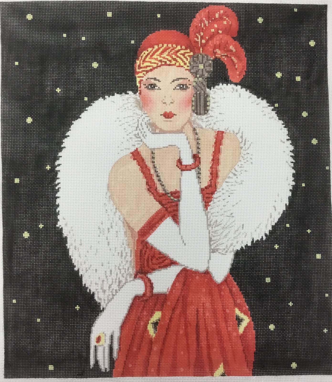 Art Deco Lady in Red, 18M, 12x13.5
