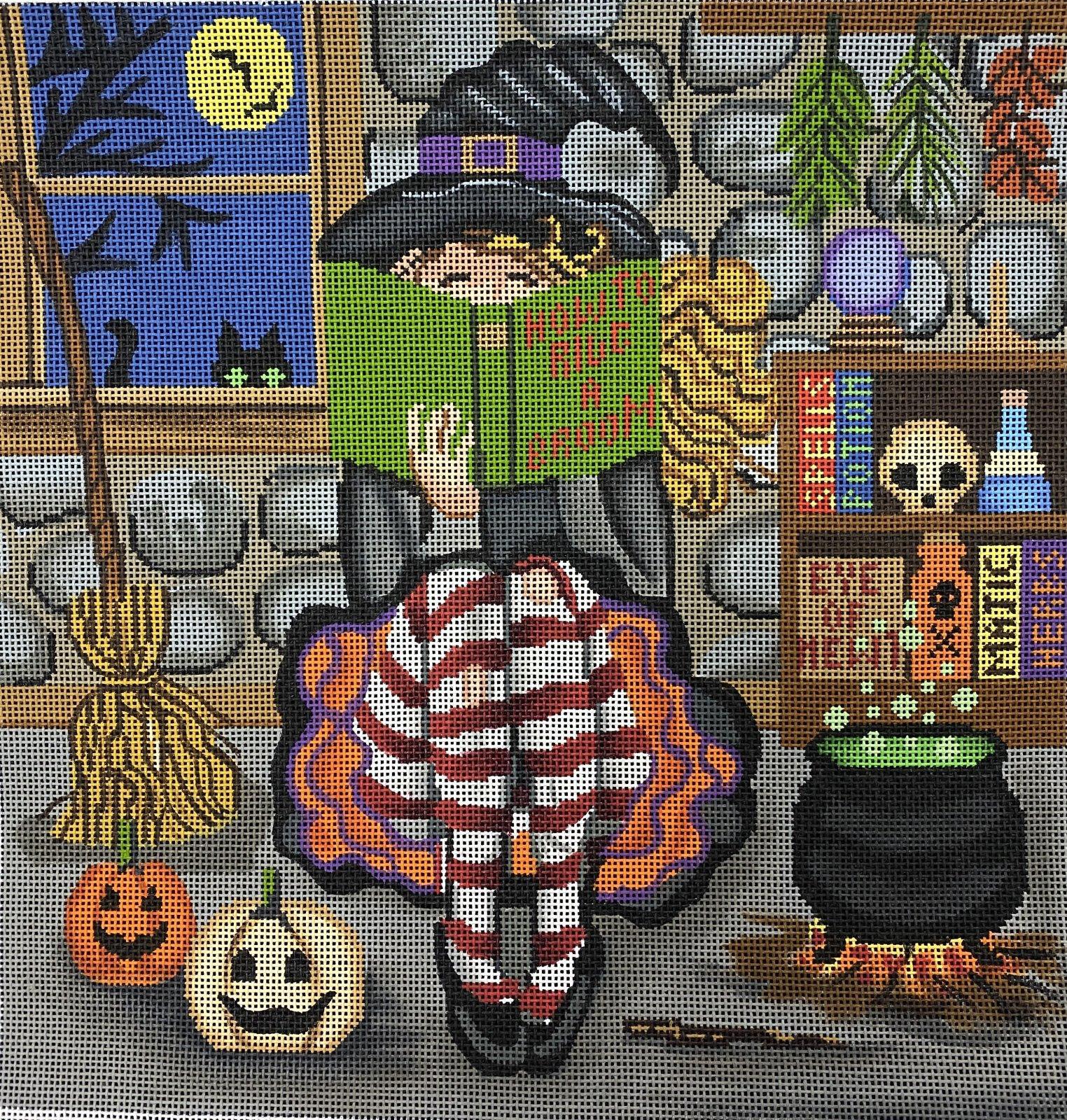 Girl Stitching Witch,18 ct.,10x10