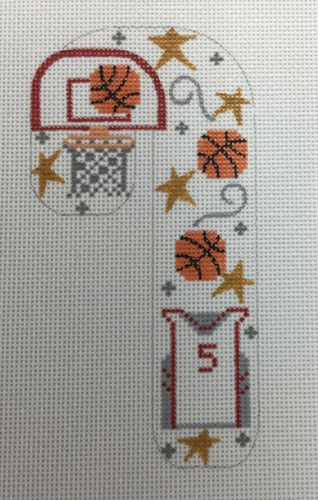Basketball Candy Cane,18M, 3x5.5
