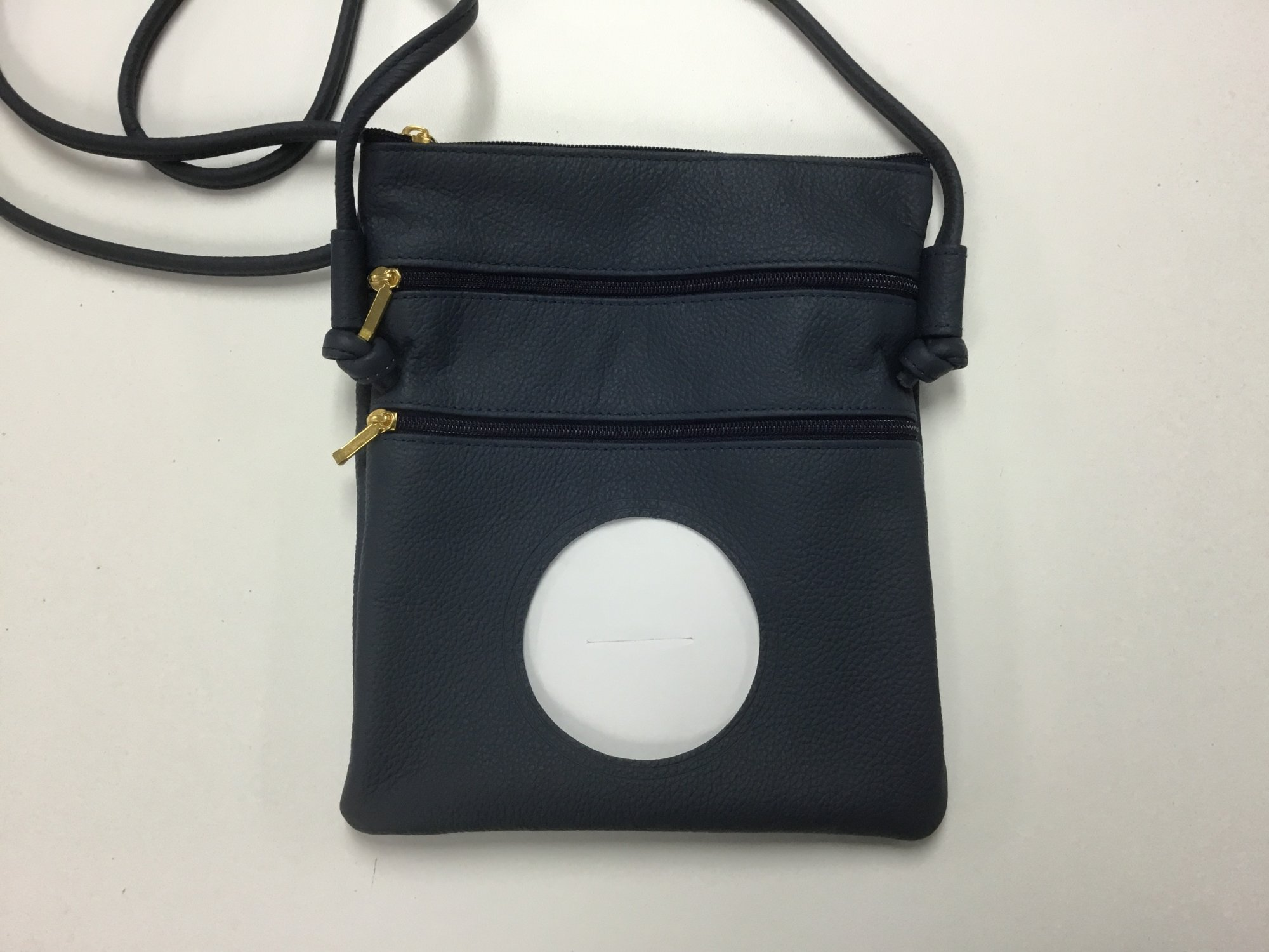 Crossbody Bag, Navy Leather, Self Finishing, 3 opening