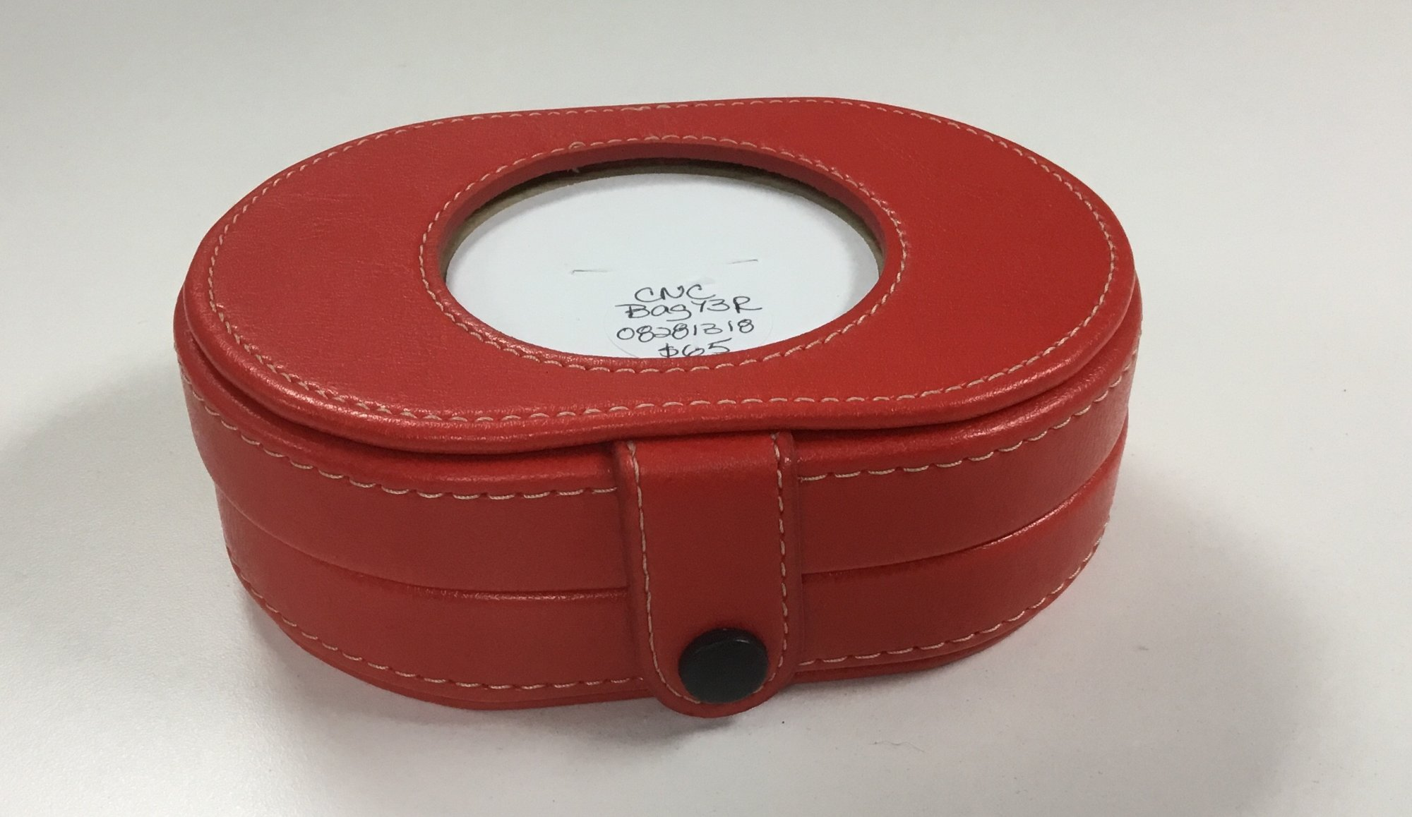 Leather Needle Box, Red, 3 Insert