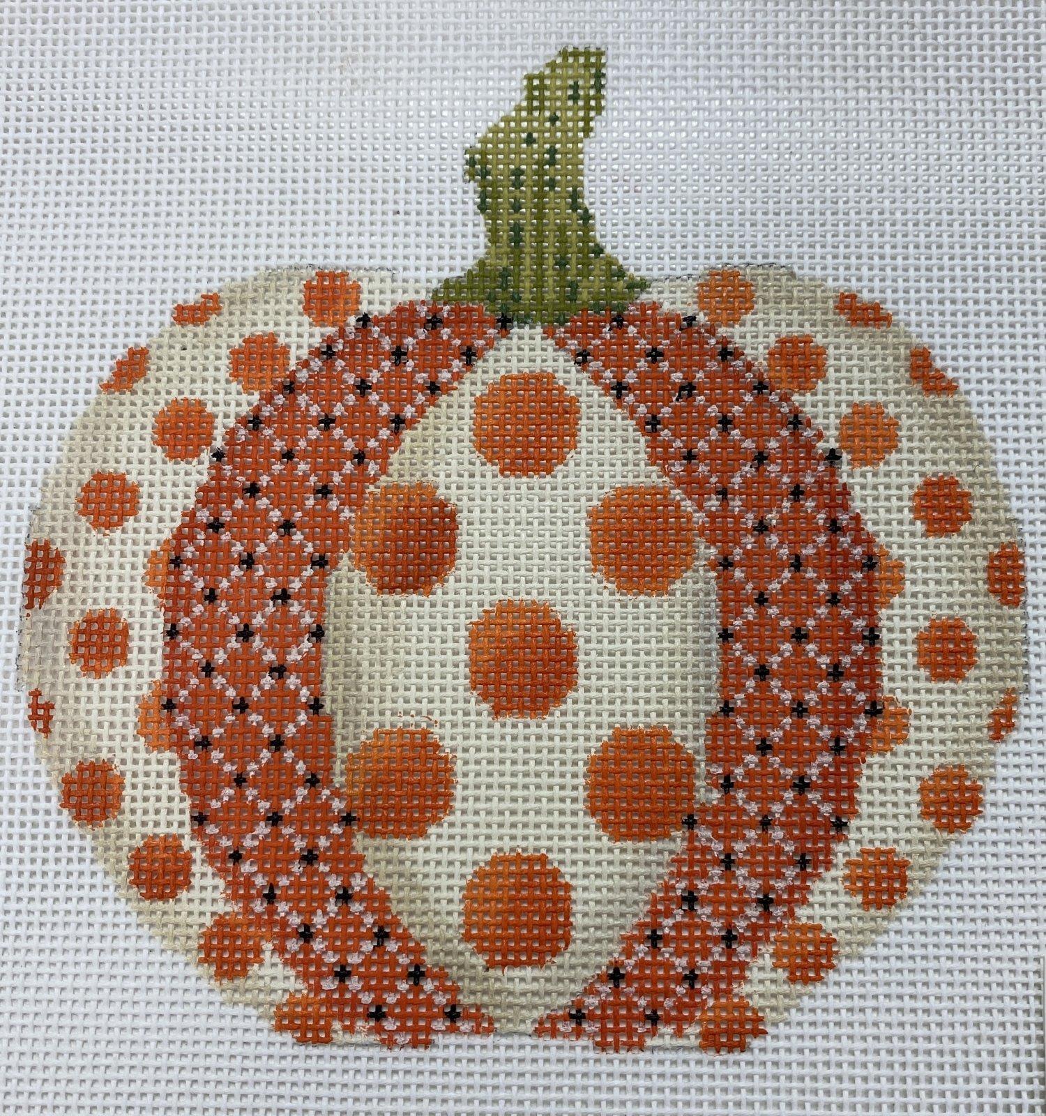 Polka Dot Patchwork Pumpkin,18 ct.,4.5x4.5