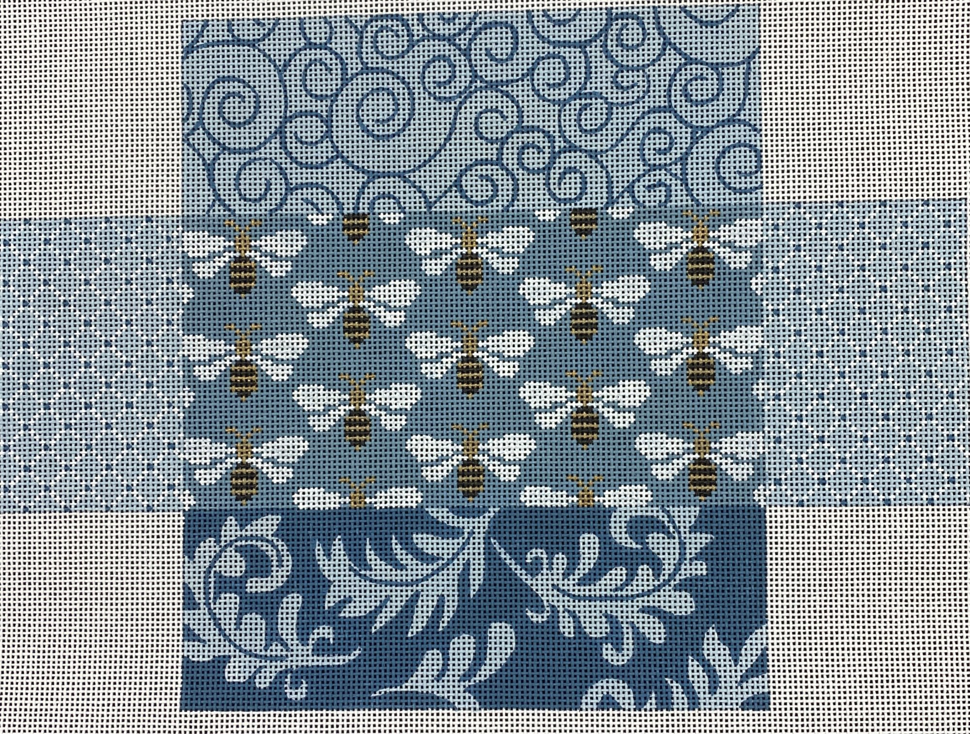 Blue Patchwork with Bees,13 ct.,10x14