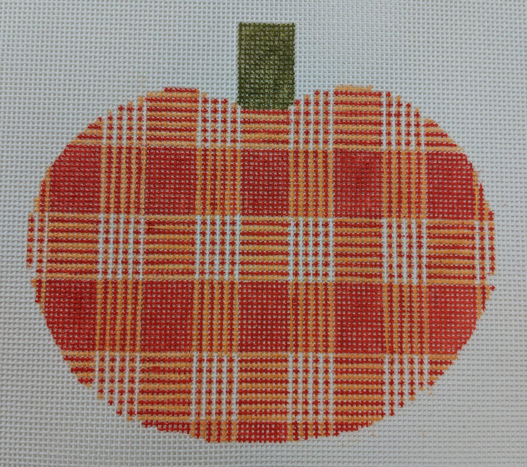 Large Orange Plaid Pumpkin, 18M, 5.25x4.75