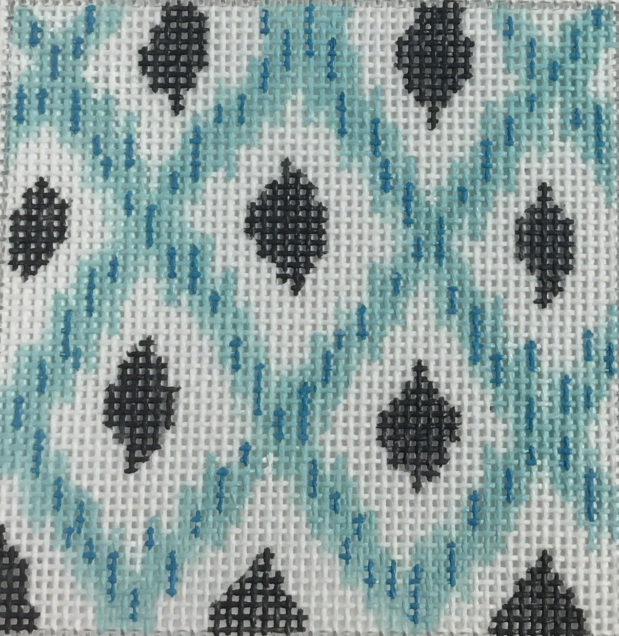 Aqua & Gray Ikat Insert Canvas, 18M, 3x3