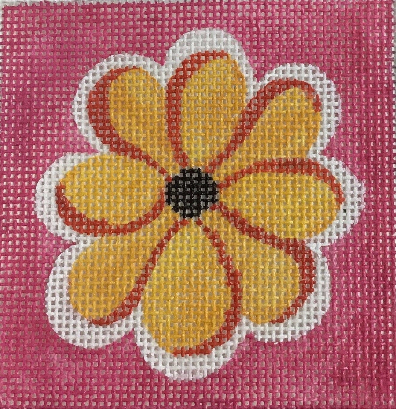 Orange Flower on Pink, 18M, 3x3
