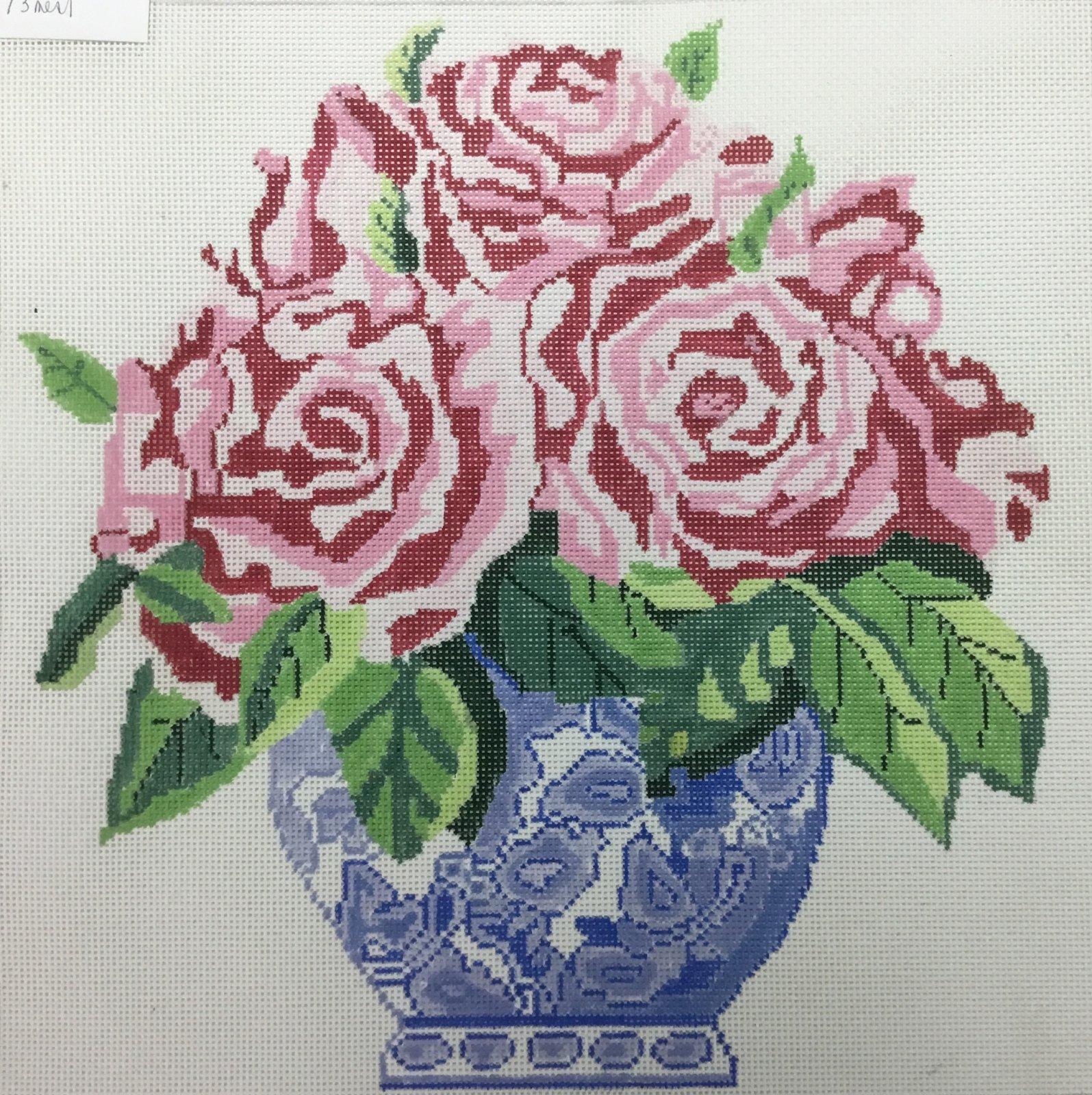 Blue Vase of Pink Roses, 14x14, 13M