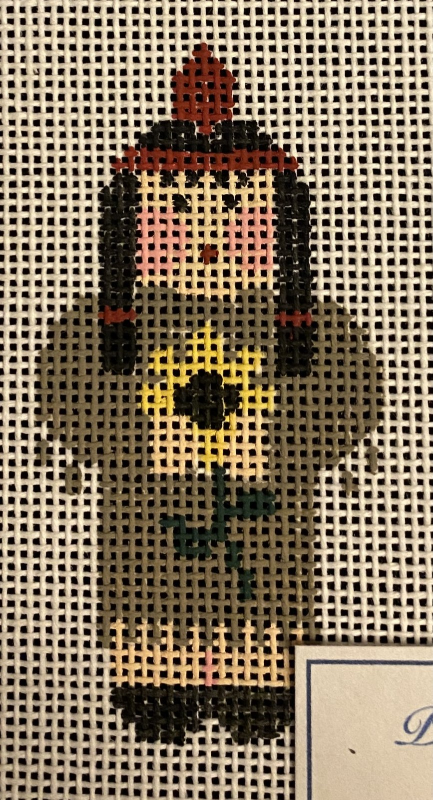Indian Girl with flower,18 ct, 1.5'x3