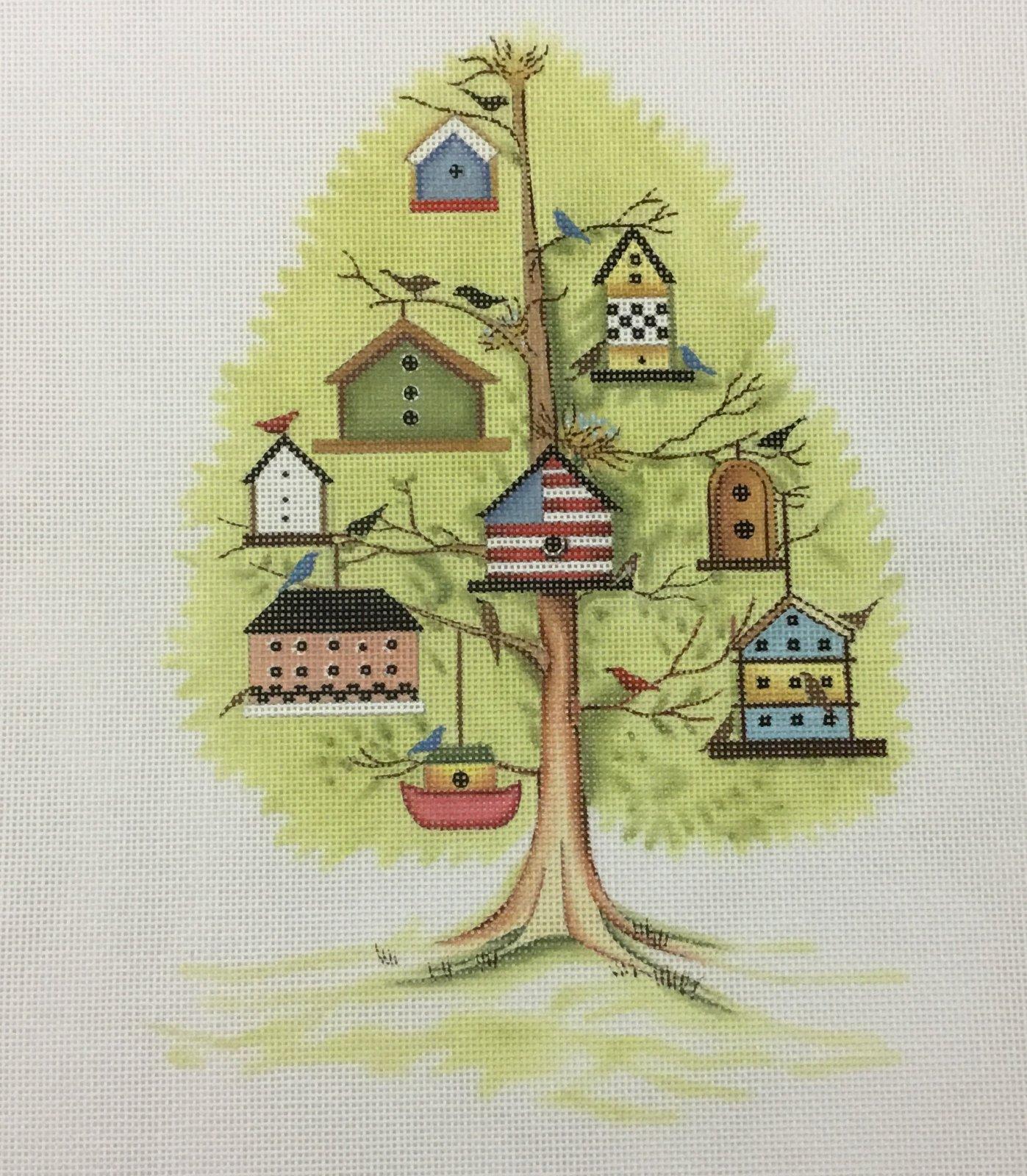 Tree w Bird Houses, 18M, 7x9.5