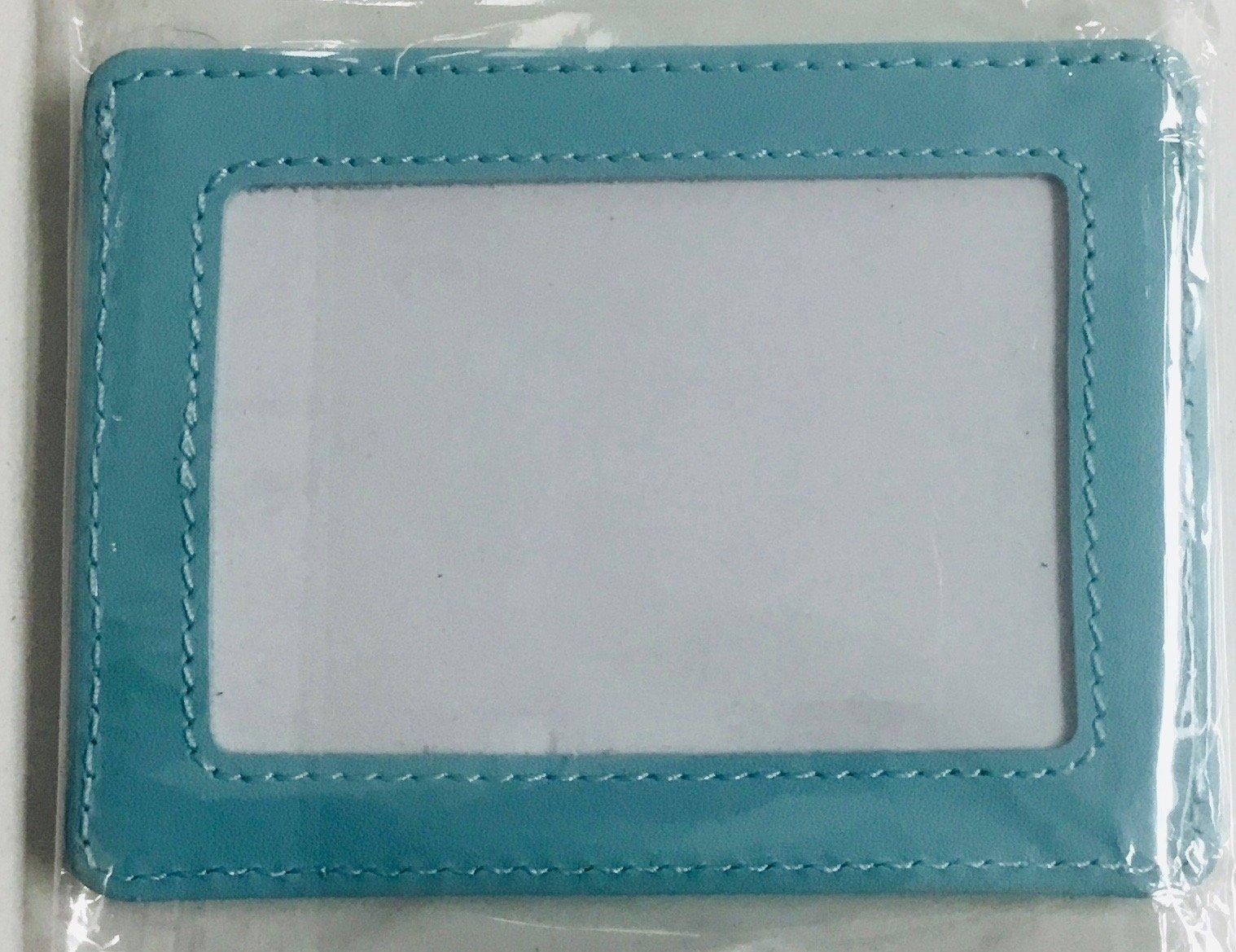 AQUA LEATHER CREDIT CARD CASE , SELF-FINISHING, 3X2 OPENING