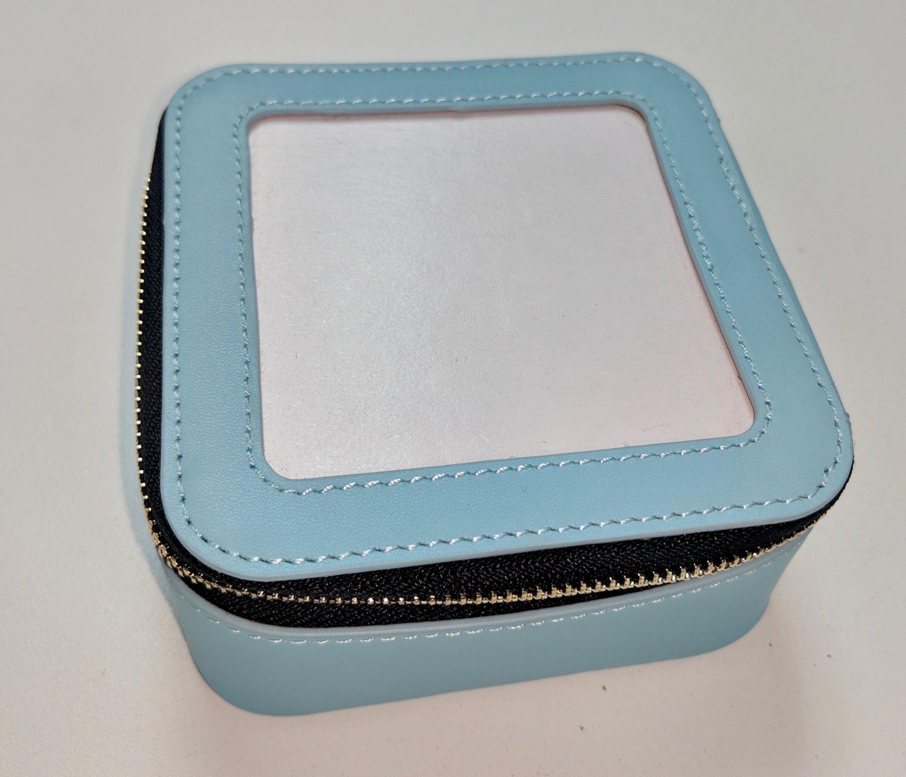 Leather Self Finishing Jewelry Case, Aqua, 3x3 opening