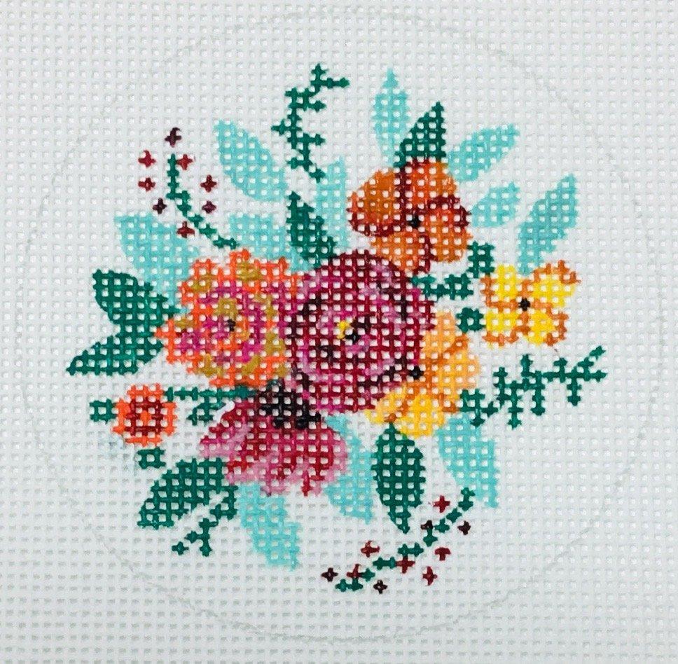 Little Floral on White, 18M, 3 round insert