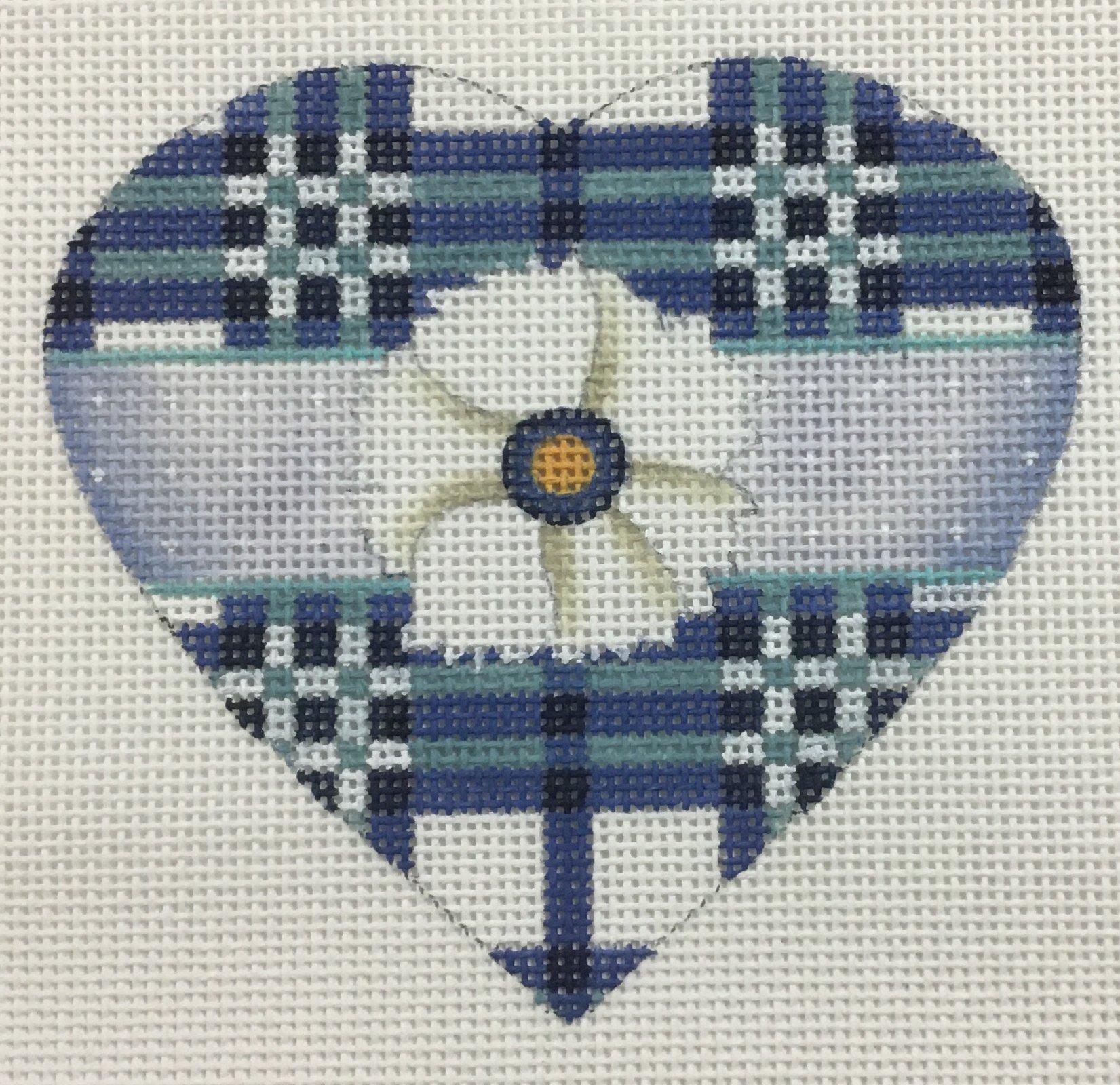 Blue & White Plaid Heart,18 ct., 4