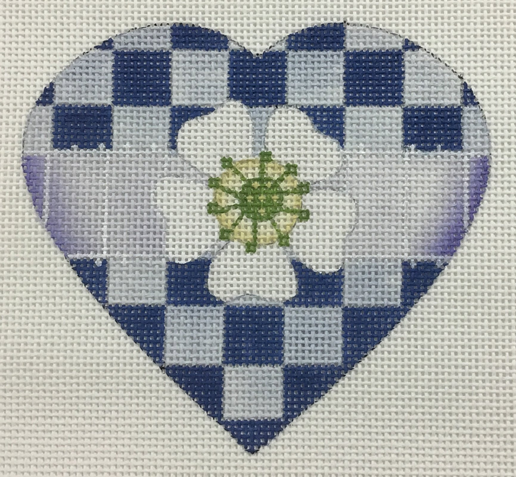 Blue & White Checkered Heart,18 ct., 4