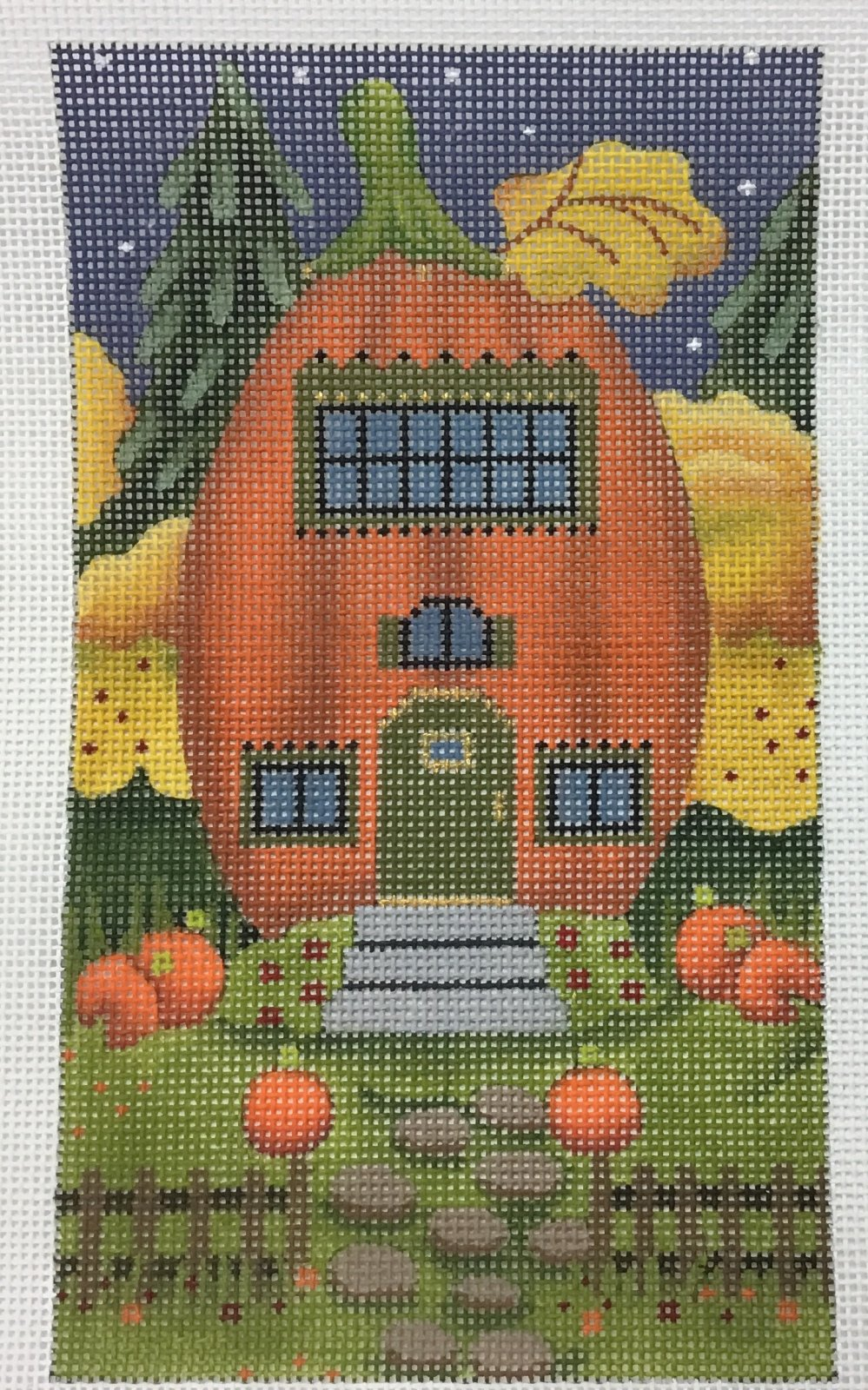 Pumpkin House with Pumpkins,18 ct.,4x7