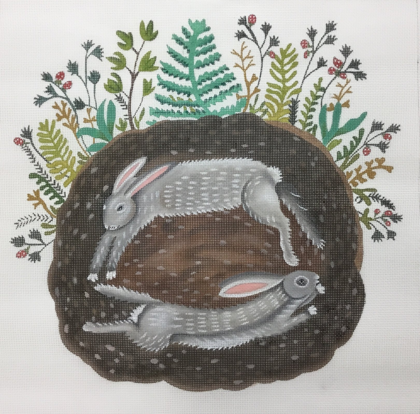Bunnies in the Burrow,18 ct.,14x14