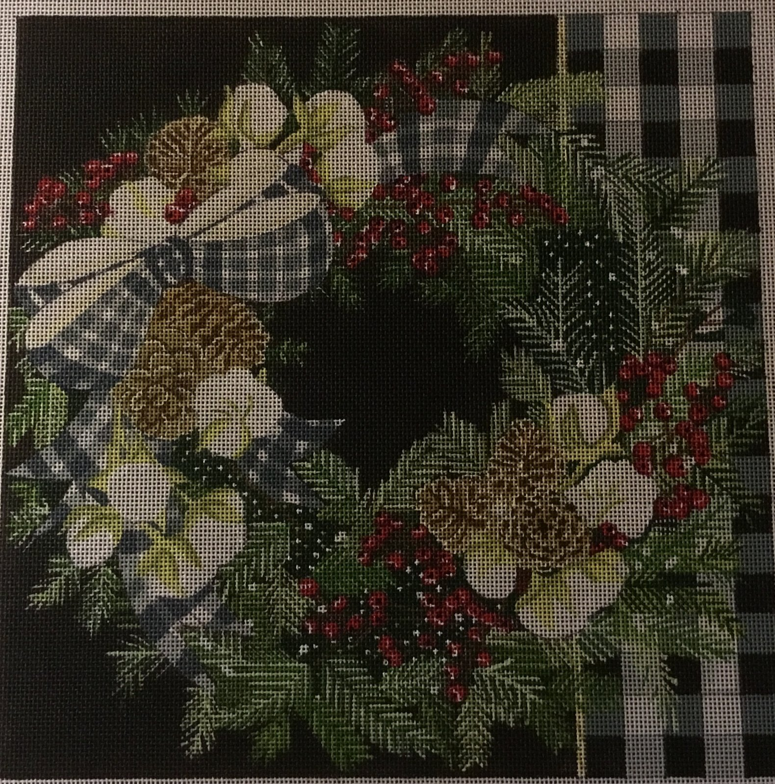 Wreath w/ Plaid Bow, 18M, 10x10