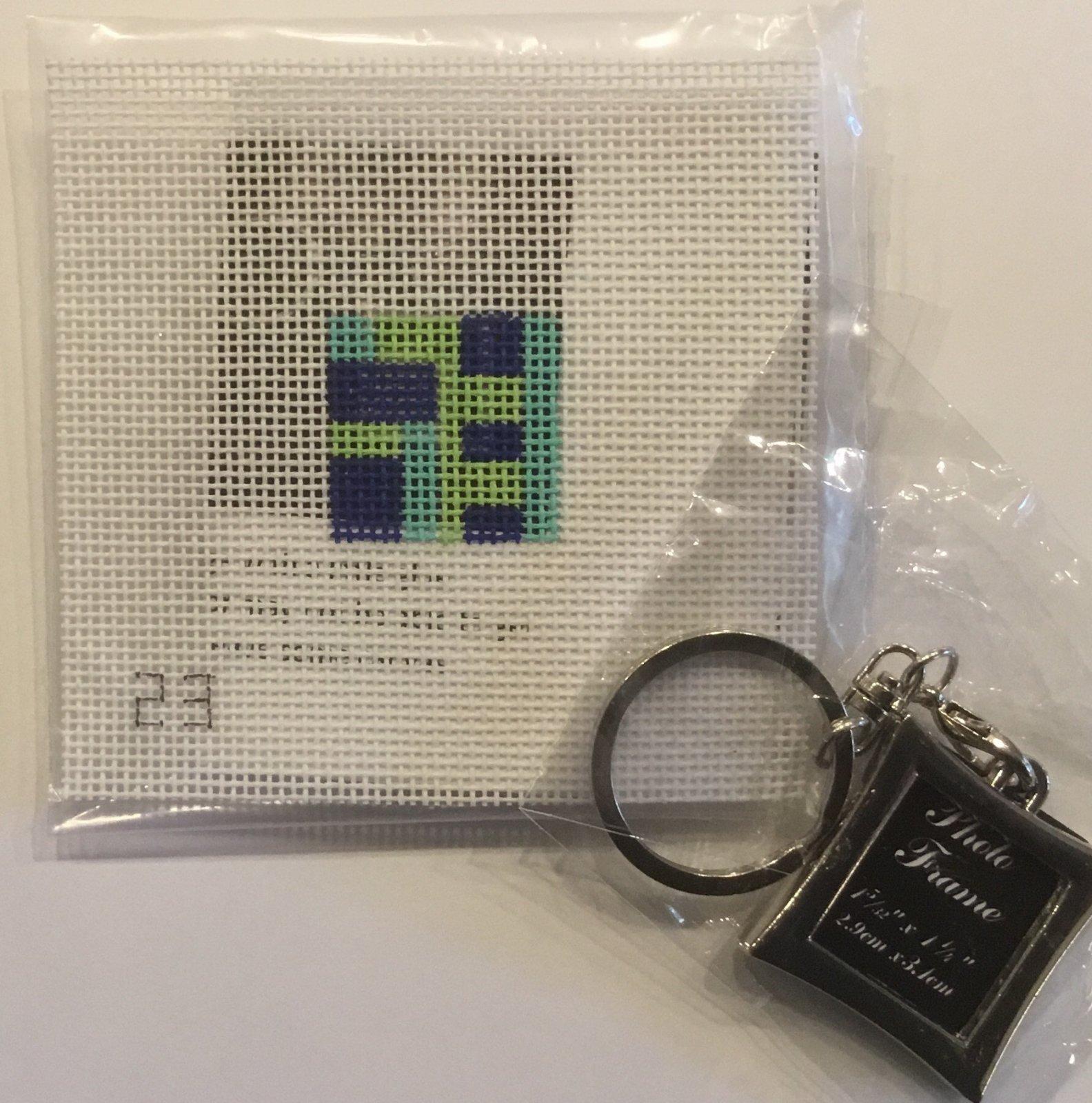 Blue Geometric Key Chain,18 ct.1x1