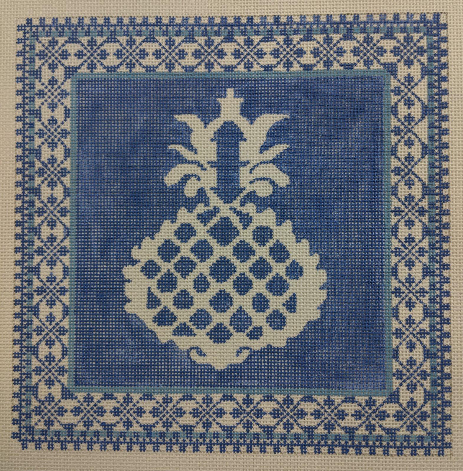 Blue Pineapple / Border, 13ct., 9.75 x 9.75