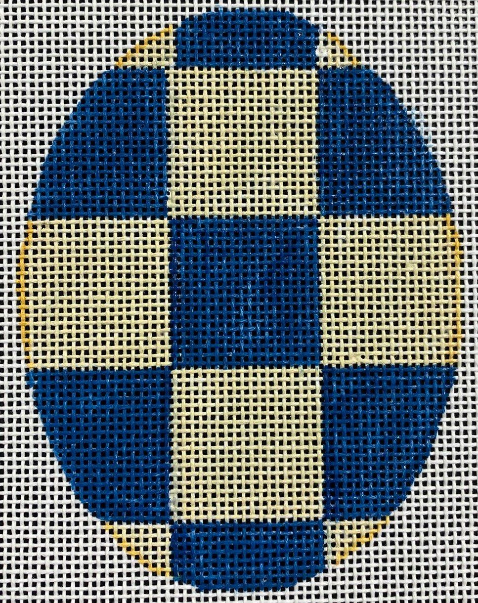 Blue Check Egg, 4x3, 18M