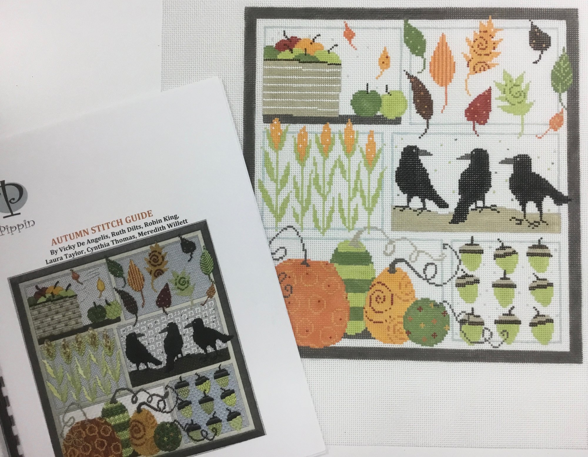 Autumn Sampler with Stitch Guide,18 ct.,9 1/2x10