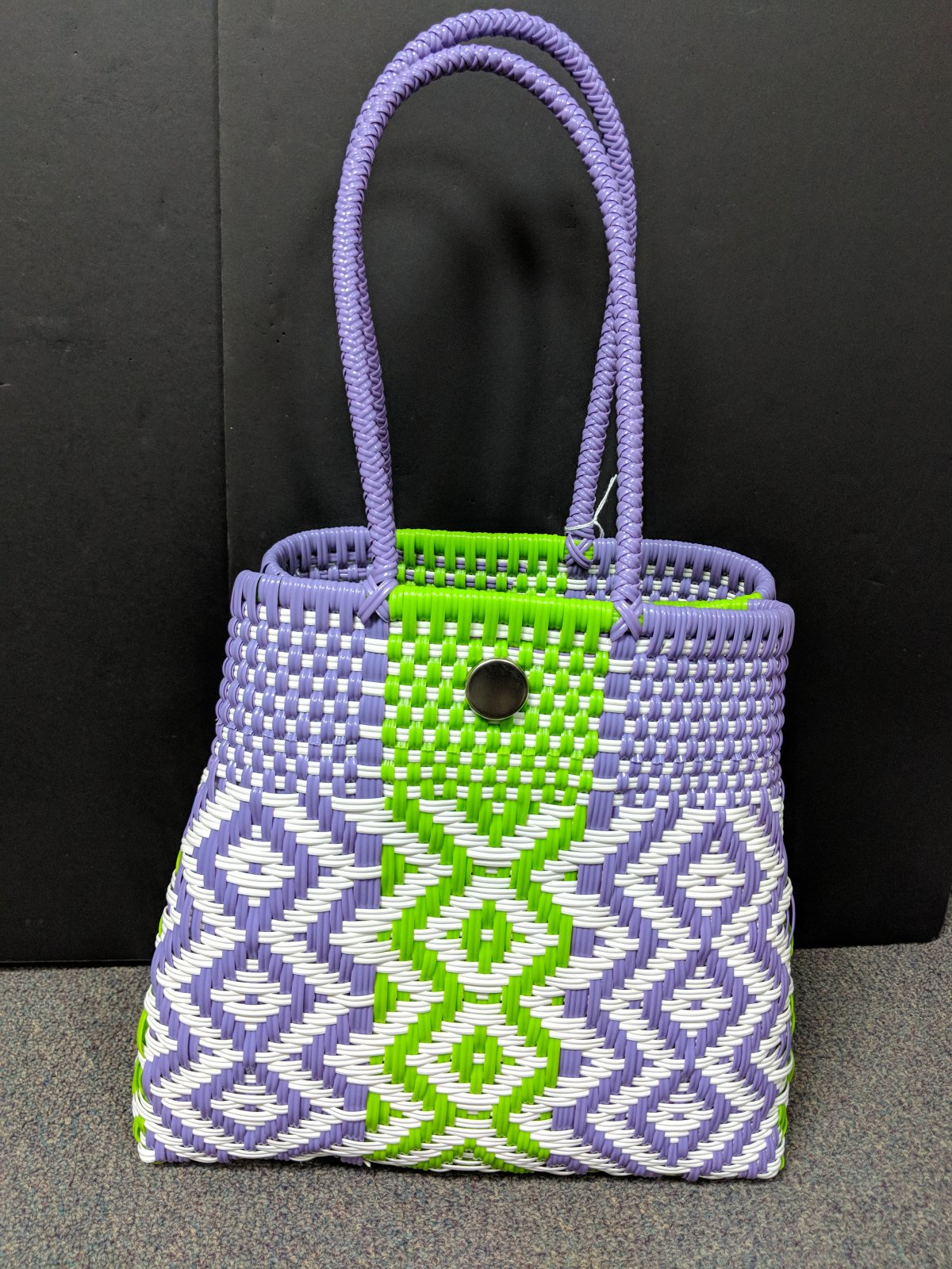 Lavender and lime,, Plastic Woven Tote, 14w x13h x5d