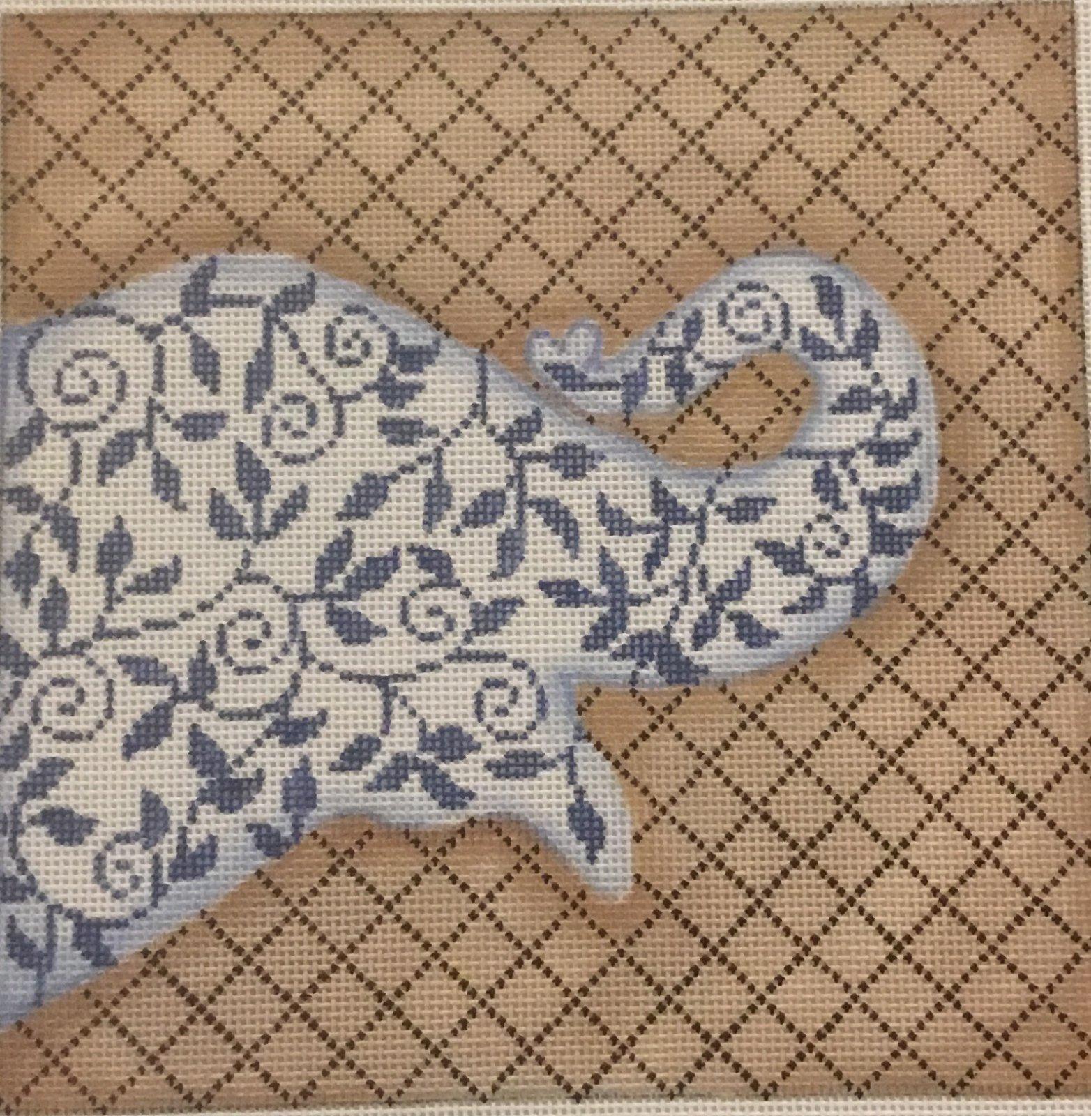 Blue Floral Elephant,13 ct.,9x9