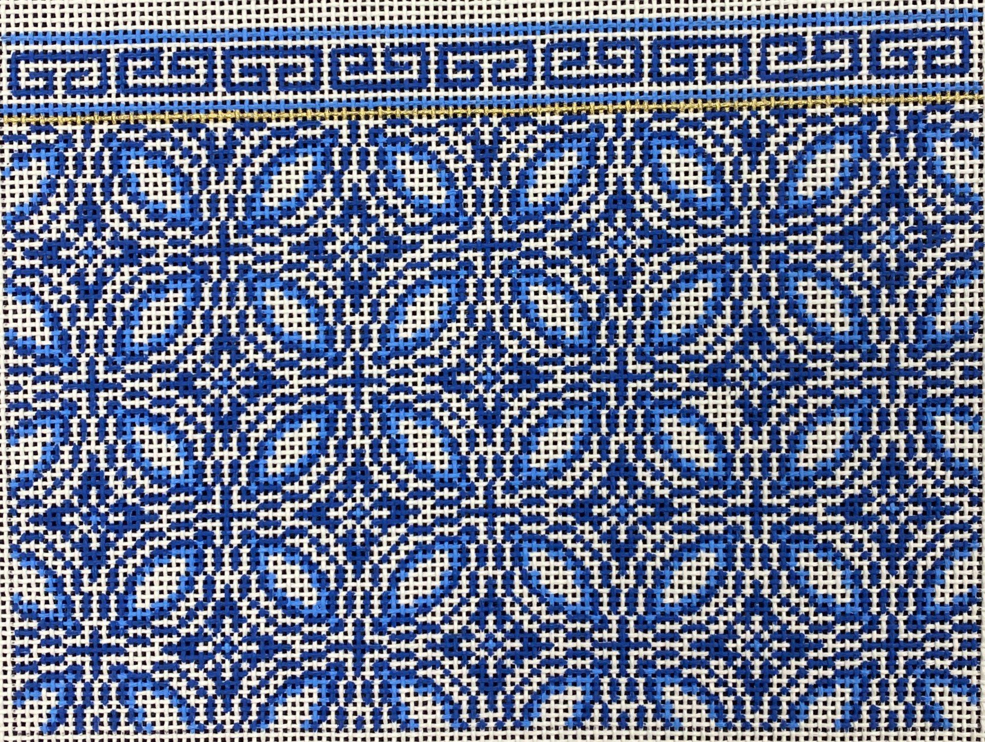 Blue /White Geometric,13 ct.,6x8.5