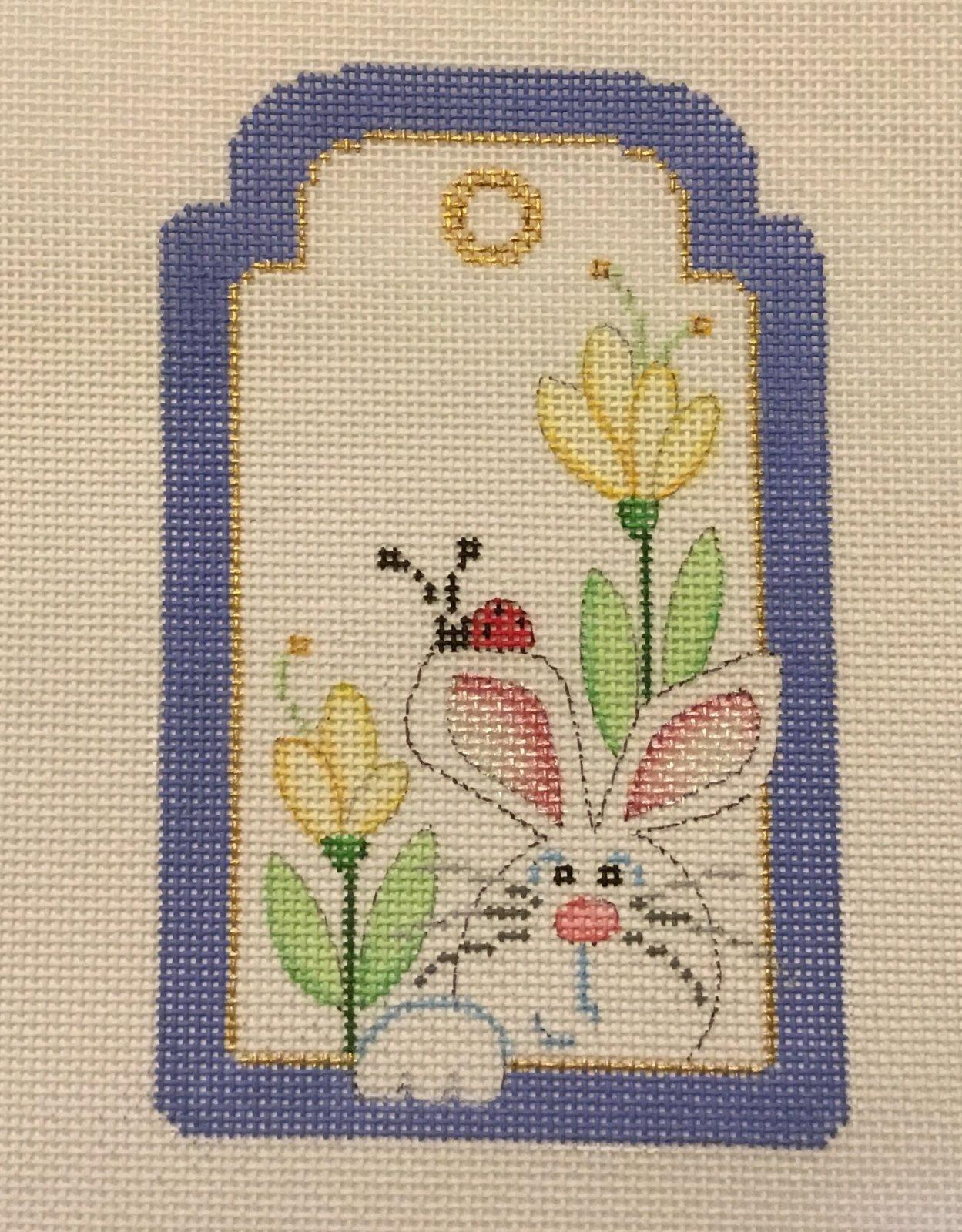 Bunny with Ladybug Tag,18 ct.,3 1/2x5 1/4