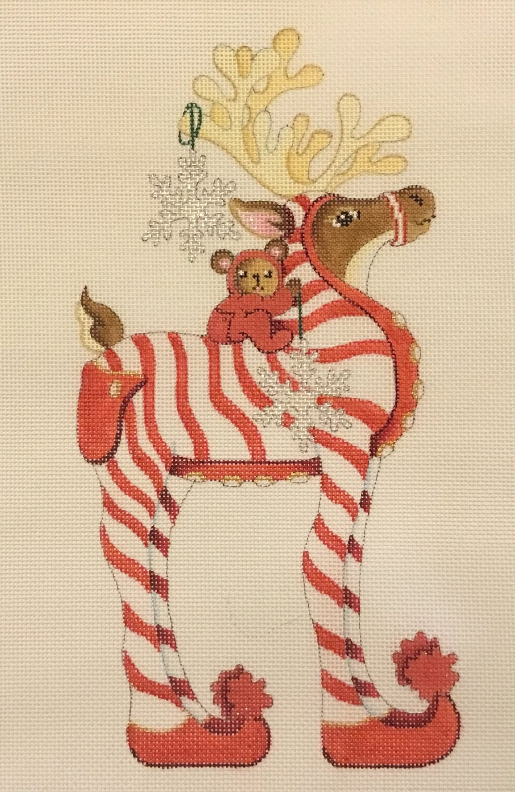 Red & White Striped PJs Reindeer, 18 ct., 5 x 10