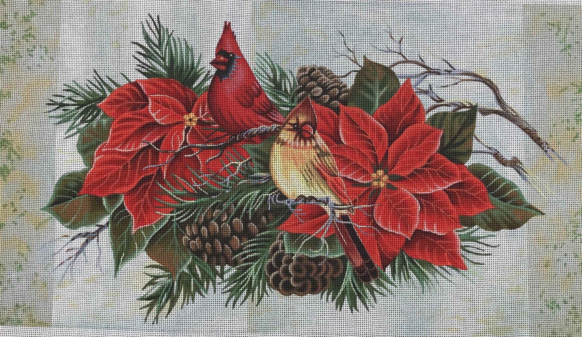 Cardinals in Poinsettias,18ct.,10x18