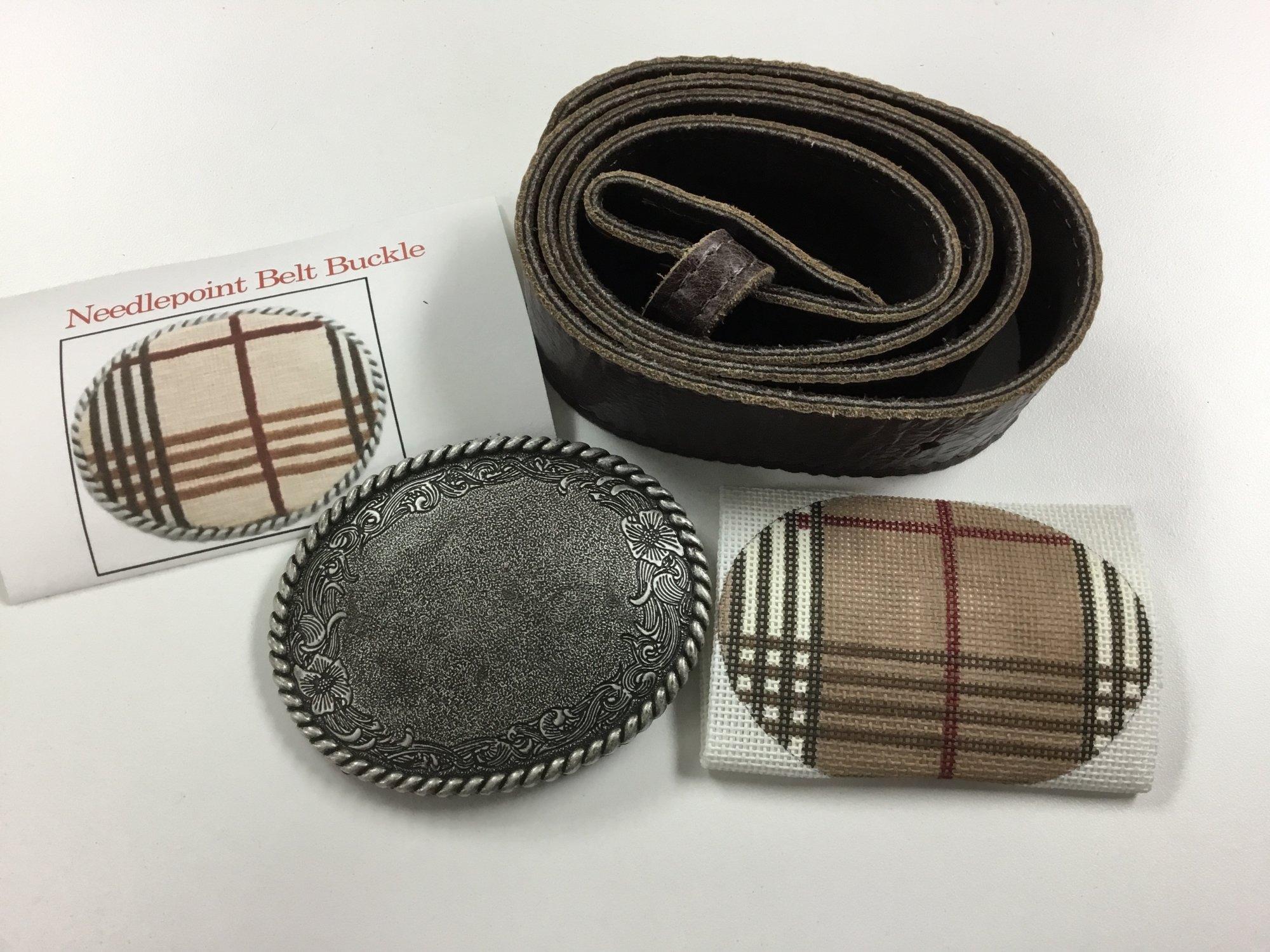 Belt Buckle with Canvas & Belt, Brown