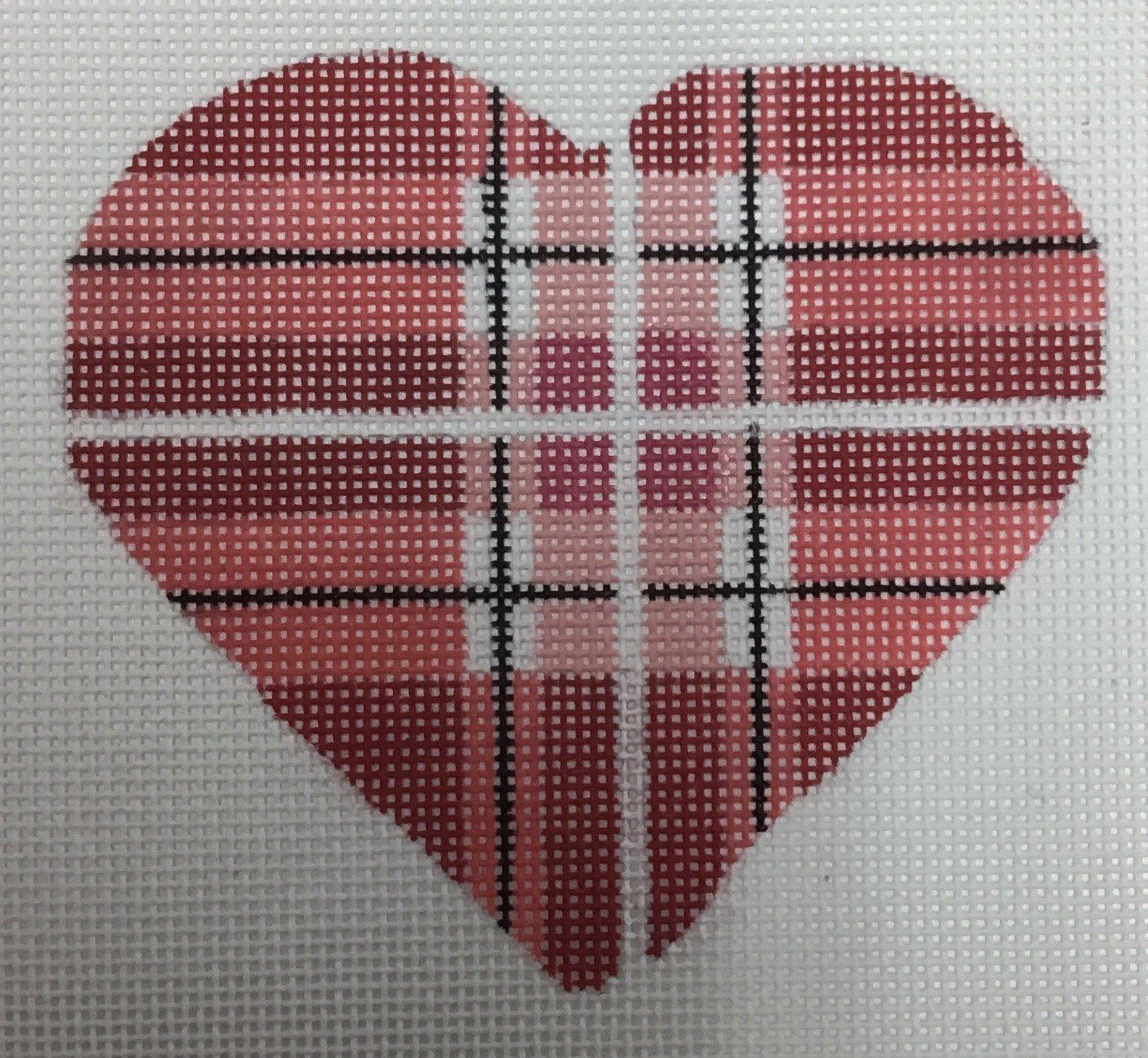 PINK, RED, BLACK, PLAID HEART, 4X3.75, 18M