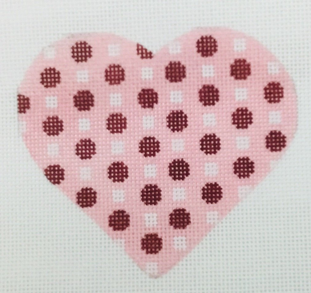 Heart w Red & White Dots, 18M, 4x3.5