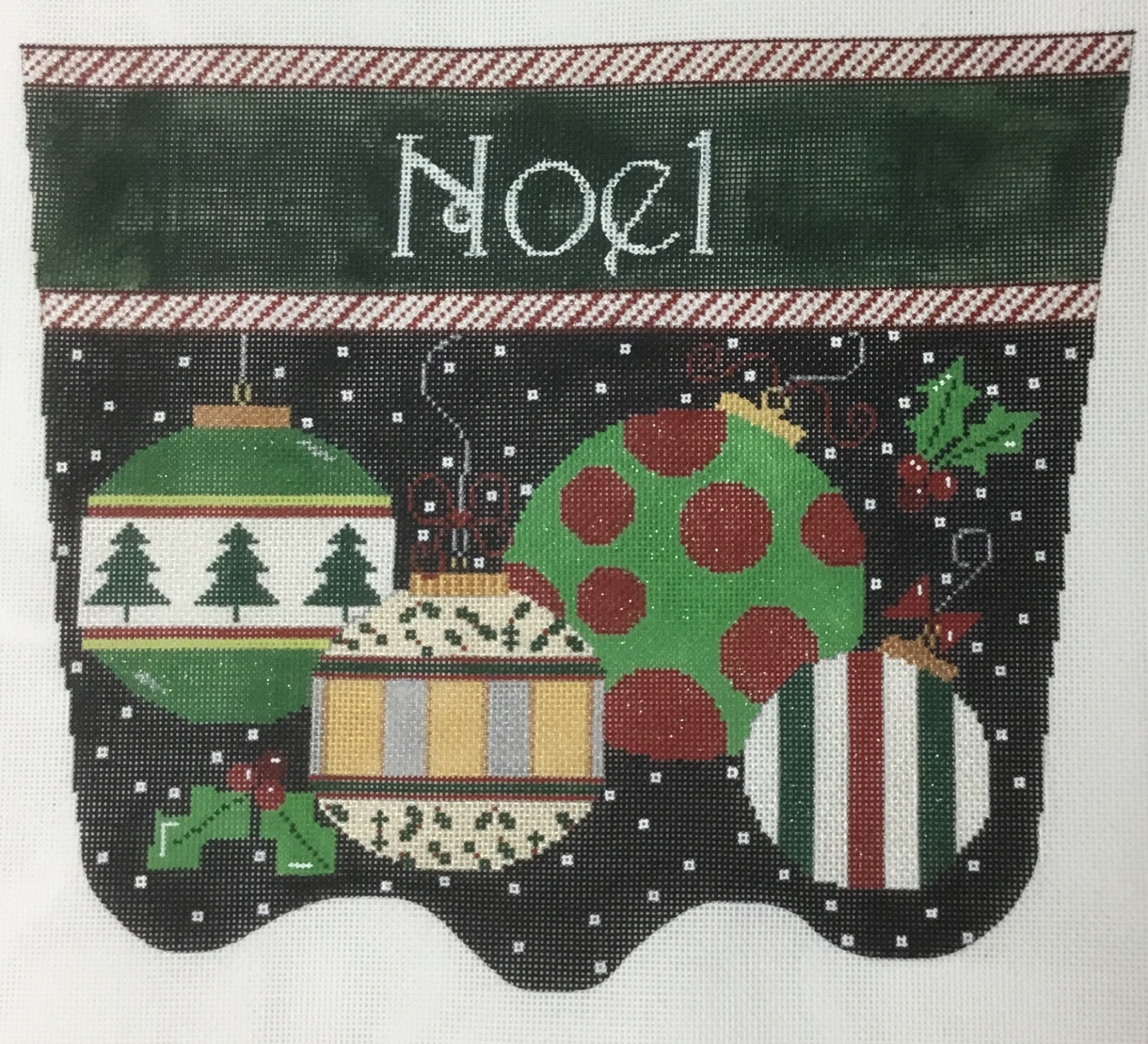 Cuff, Black Background w/ Ornaments, 18 ct., 9.5